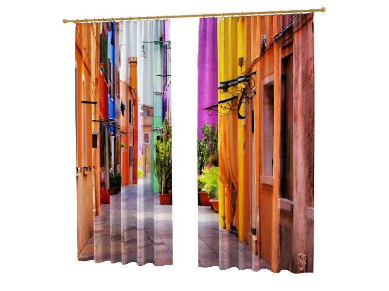 Шторы StickButik Фотошторы Цветной Переулок
