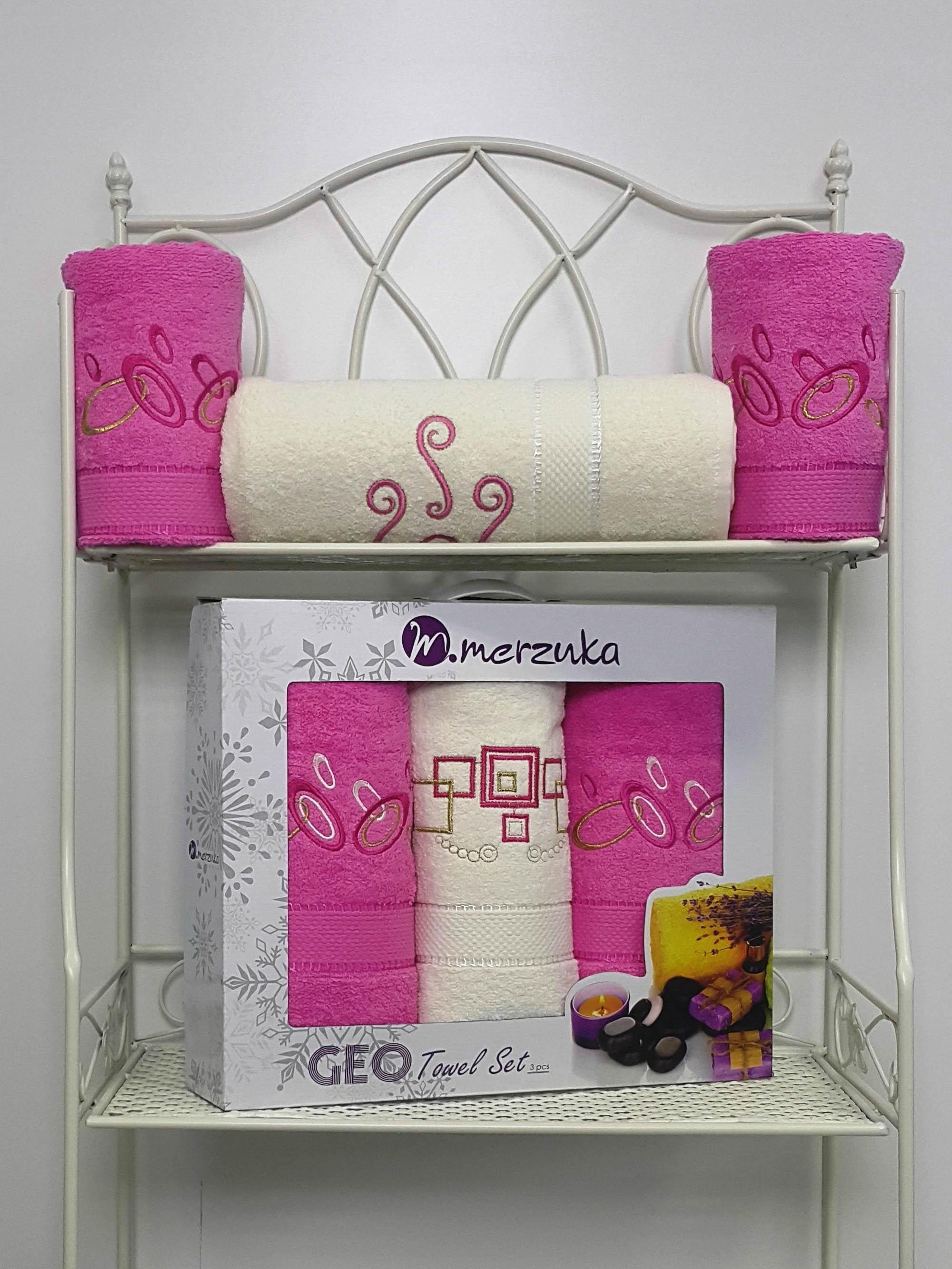 Полотенца Oran Merzuka Полотенце Geо Цвет: Розовый (Набор) набор из 3 полотенец merzuka sakura 50х90 2 70х140 8432 оранжевый