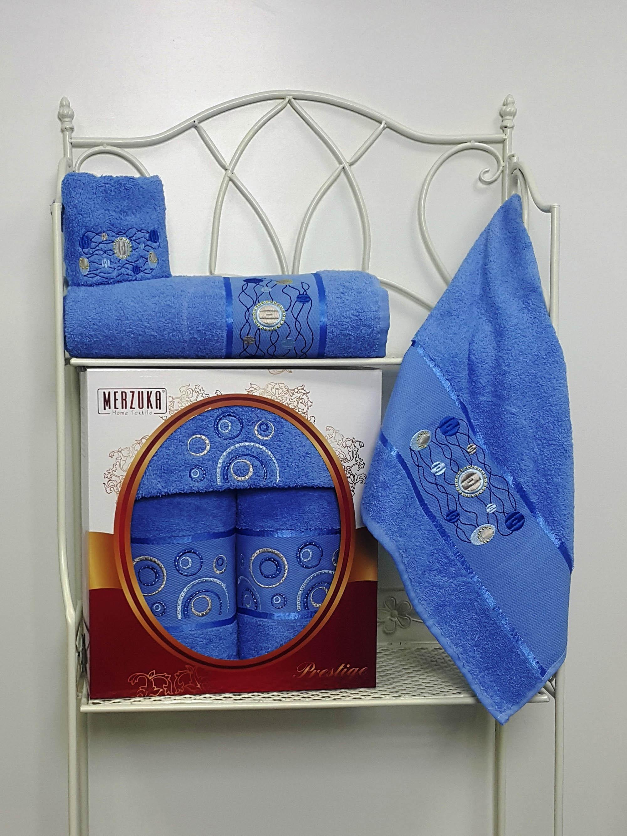 Полотенца Oran Merzuka Набор из 3 полотенец Prestij Цвет: Голубой набор из 3 полотенец merzuka sakura 50х90 2 70х140 8432 оранжевый