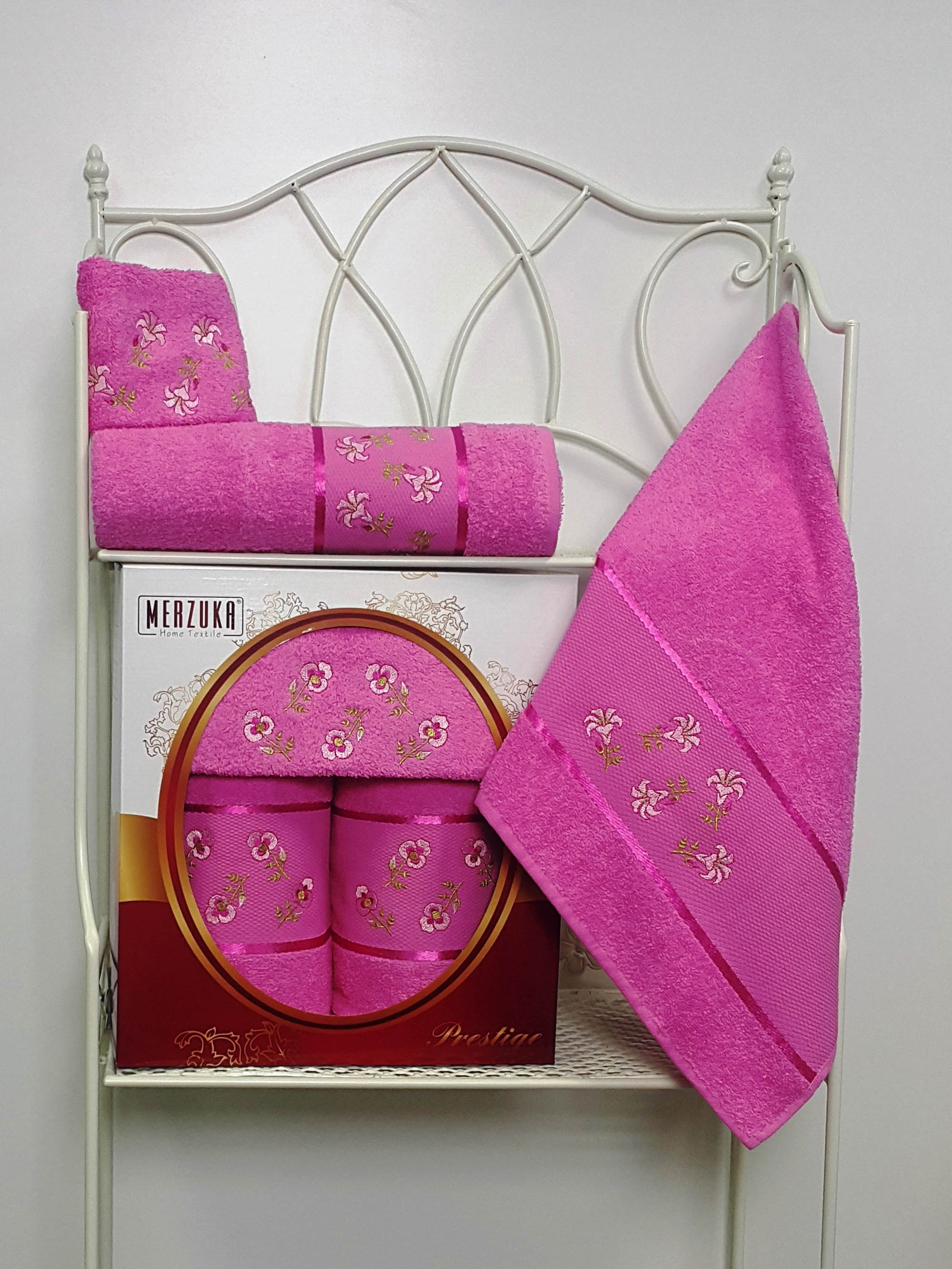 Полотенца Oran Merzuka Набор из 3 полотенец Prestij Цвет: Тёмно-Розовый набор из 3 полотенец merzuka sakura 50х90 2 70х140 8432 оранжевый