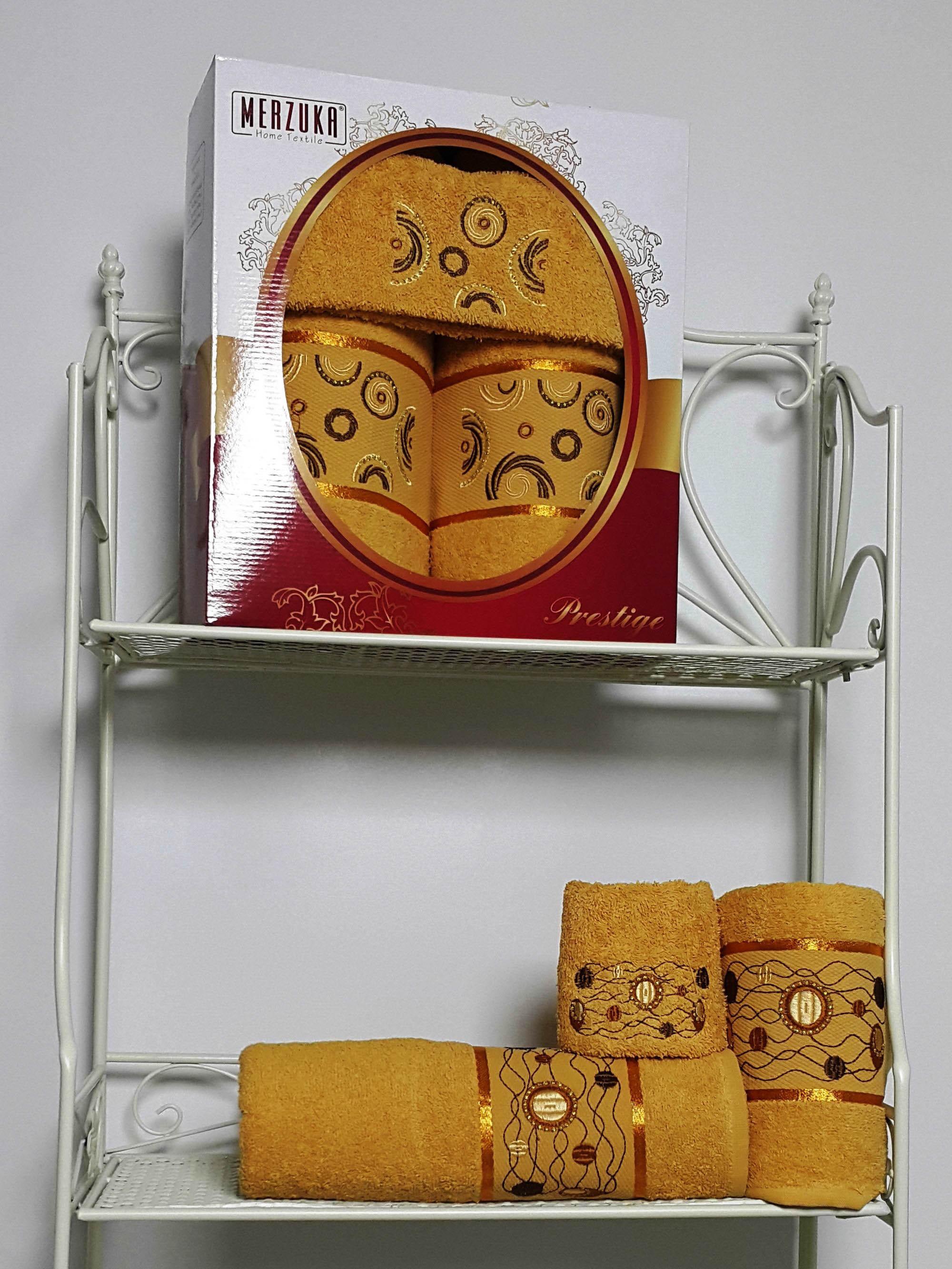 Полотенца Oran Merzuka Набор из 3 полотенец Prestij Цвет: Горчичный набор из 3 полотенец merzuka sakura 50х90 2 70х140 8432 оранжевый