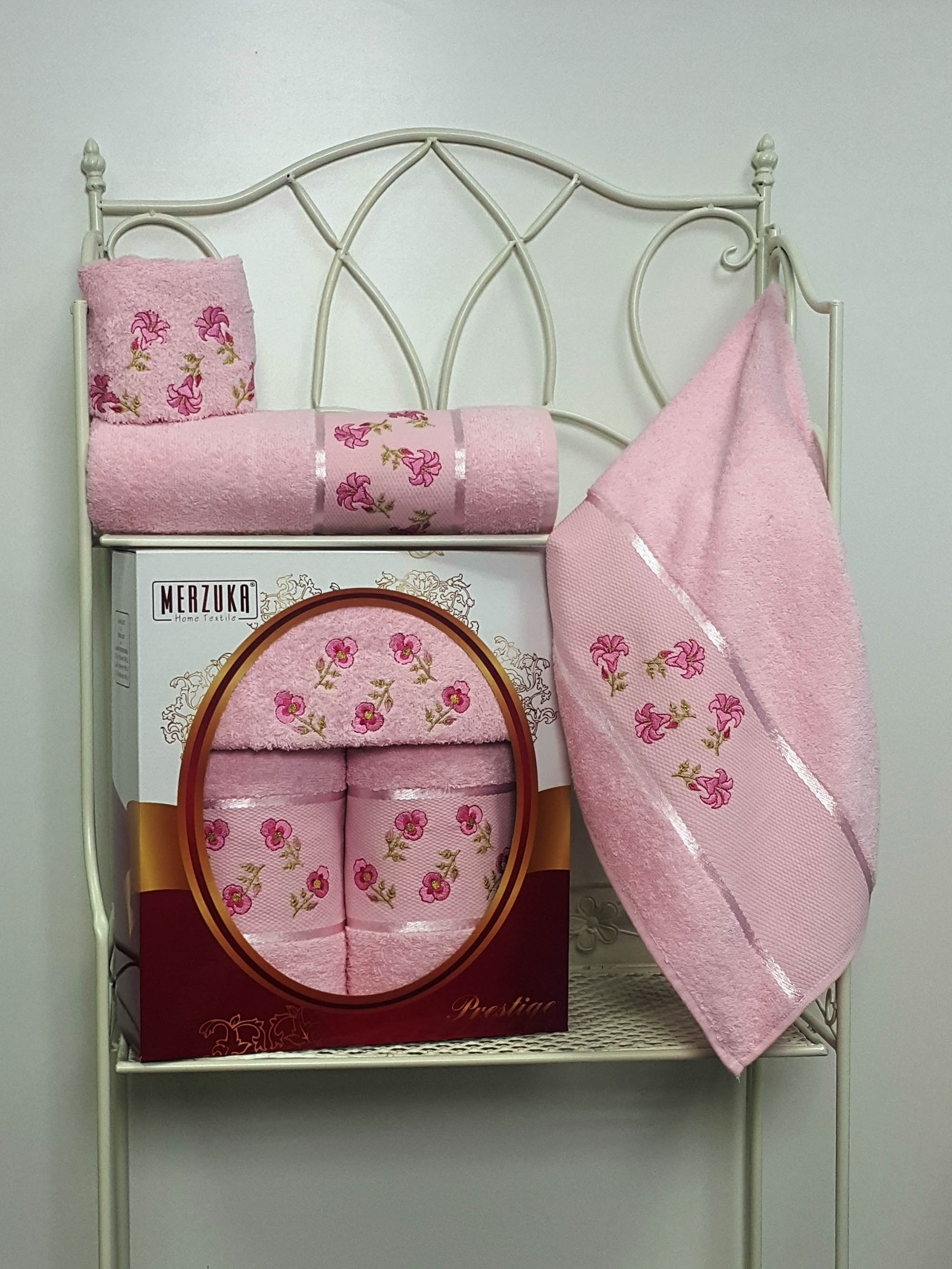 Полотенца Oran Merzuka Набор из 3 полотенец Prestij Цвет: Светло-Розовый набор из 2 полотенец merzuka sakura 50х90 70х140 8430 кремовый