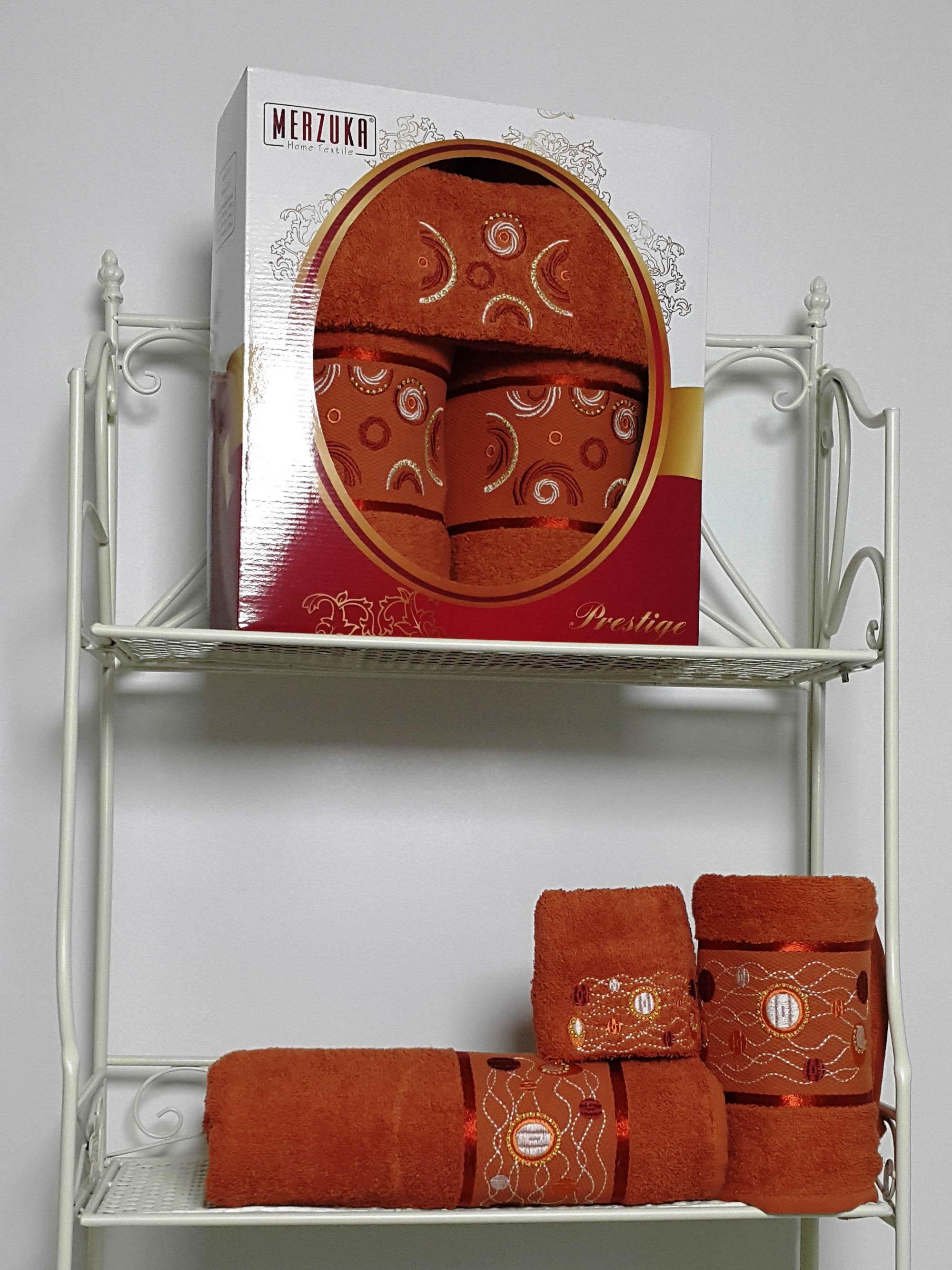Полотенца Oran Merzuka Набор из 3 полотенец Prestij Цвет: Терракотовый набор из 3 полотенец merzuka sakura 50х90 2 70х140 8432 оранжевый