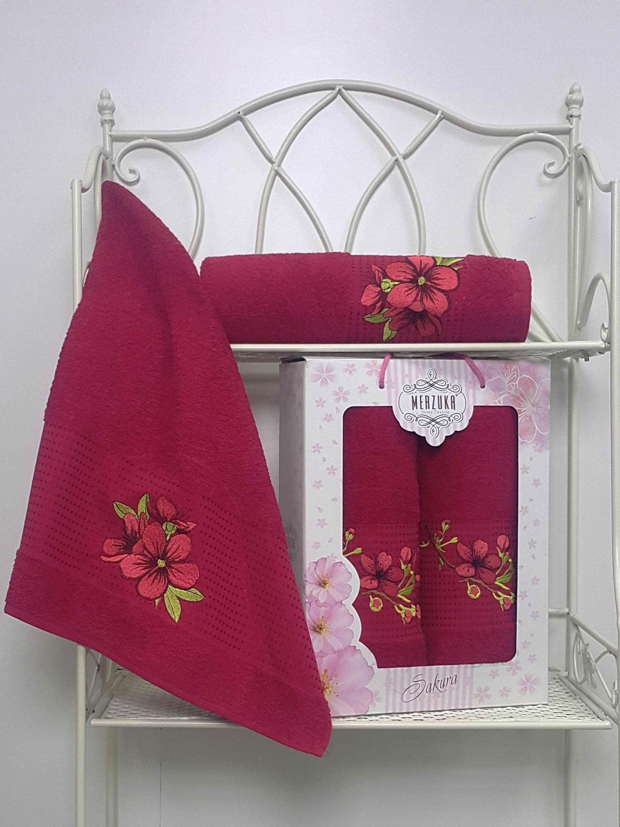 Полотенца Oran Merzuka Полотенце Sakura Цвет: Бордовый (Набор) набор из 3 полотенец merzuka sakura 50х90 2 70х140 8432 терракотовый
