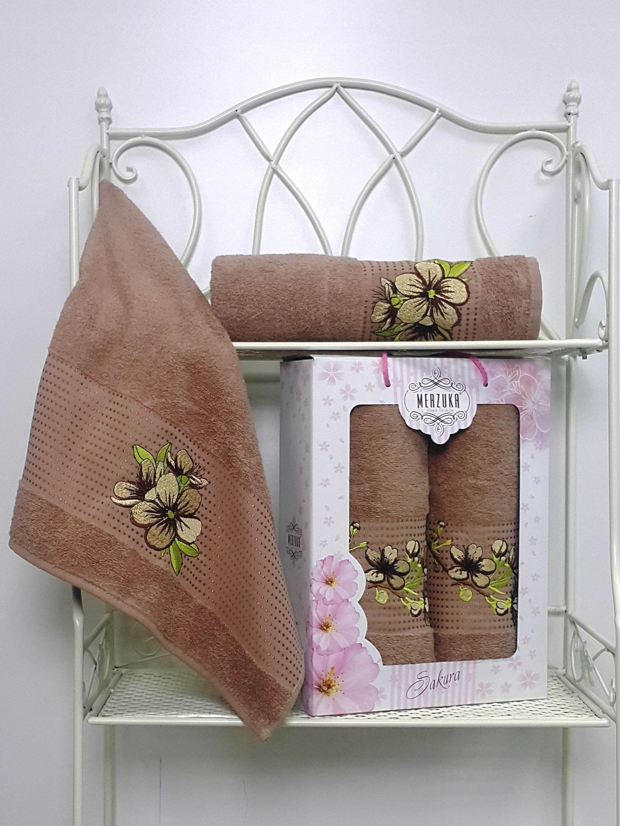 Полотенца Oran Merzuka Полотенце Sakura Цвет: Коричневый (Набор) набор из 3 полотенец merzuka sakura 50х90 2 70х140 8432 терракотовый