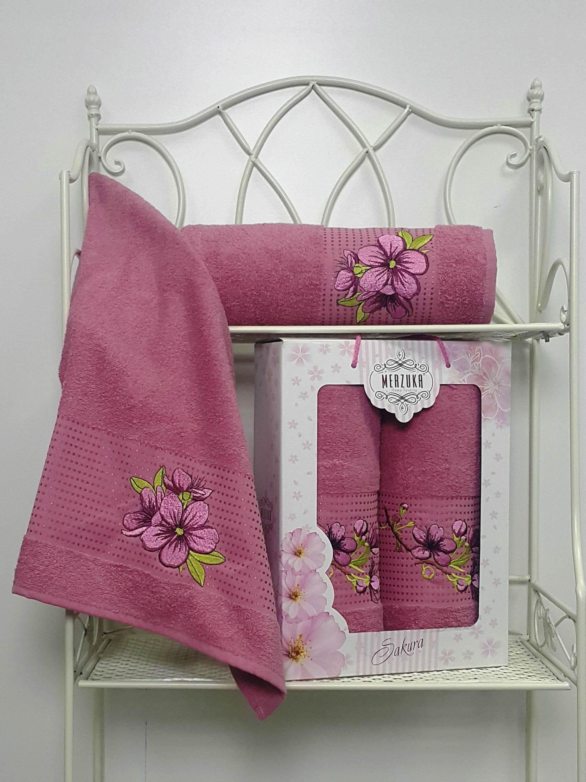 Полотенца Oran Merzuka Полотенце Sakura Цвет: Тёмно-Розовый (Набор) набор из 3 полотенец merzuka sakura 50х90 2 70х140 8432 терракотовый