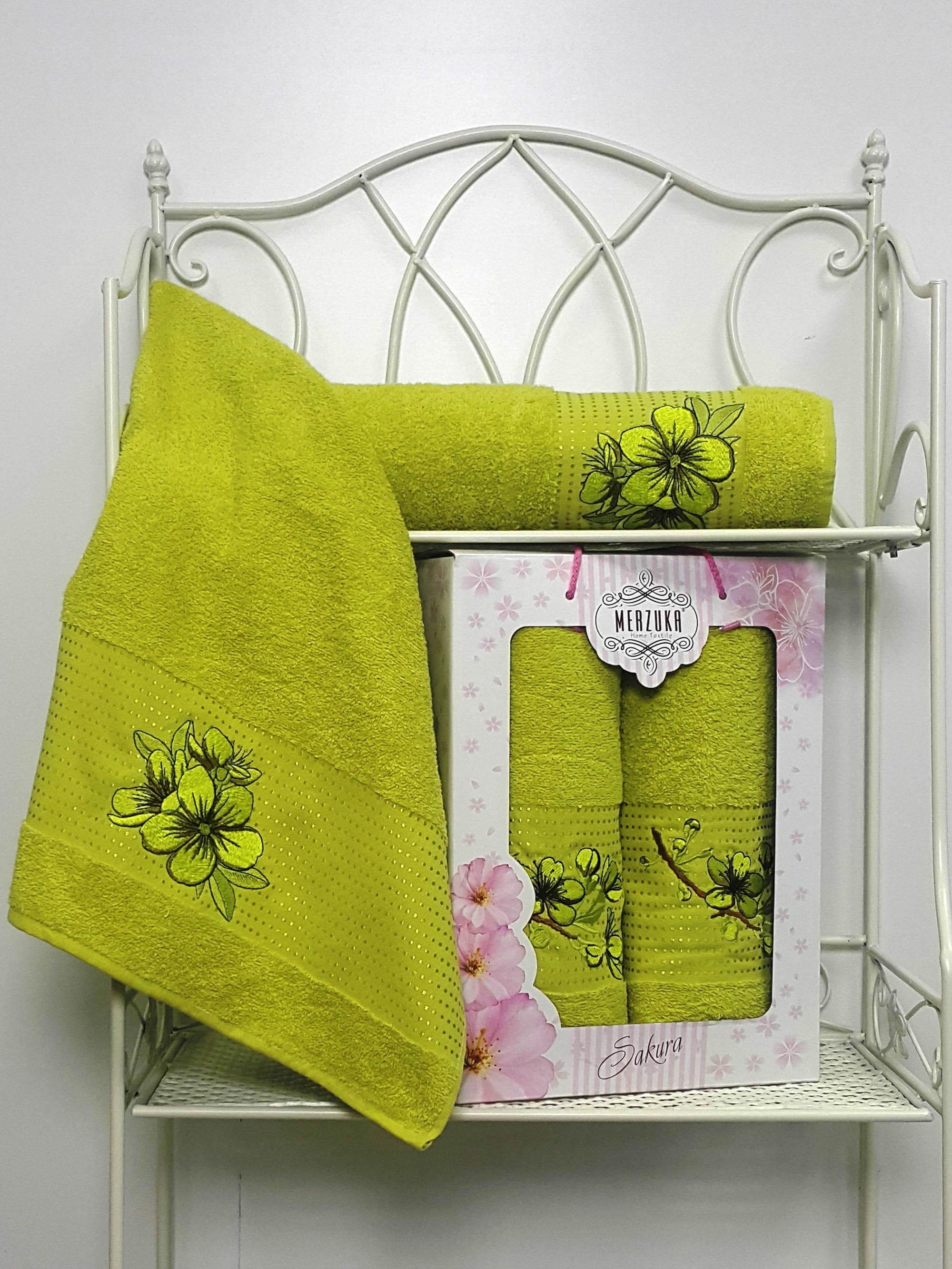 Полотенца Oran Merzuka Полотенце Sakura Цвет: Зелёный (Набор) набор из 3 полотенец merzuka sakura 50х90 2 70х140 8432 терракотовый