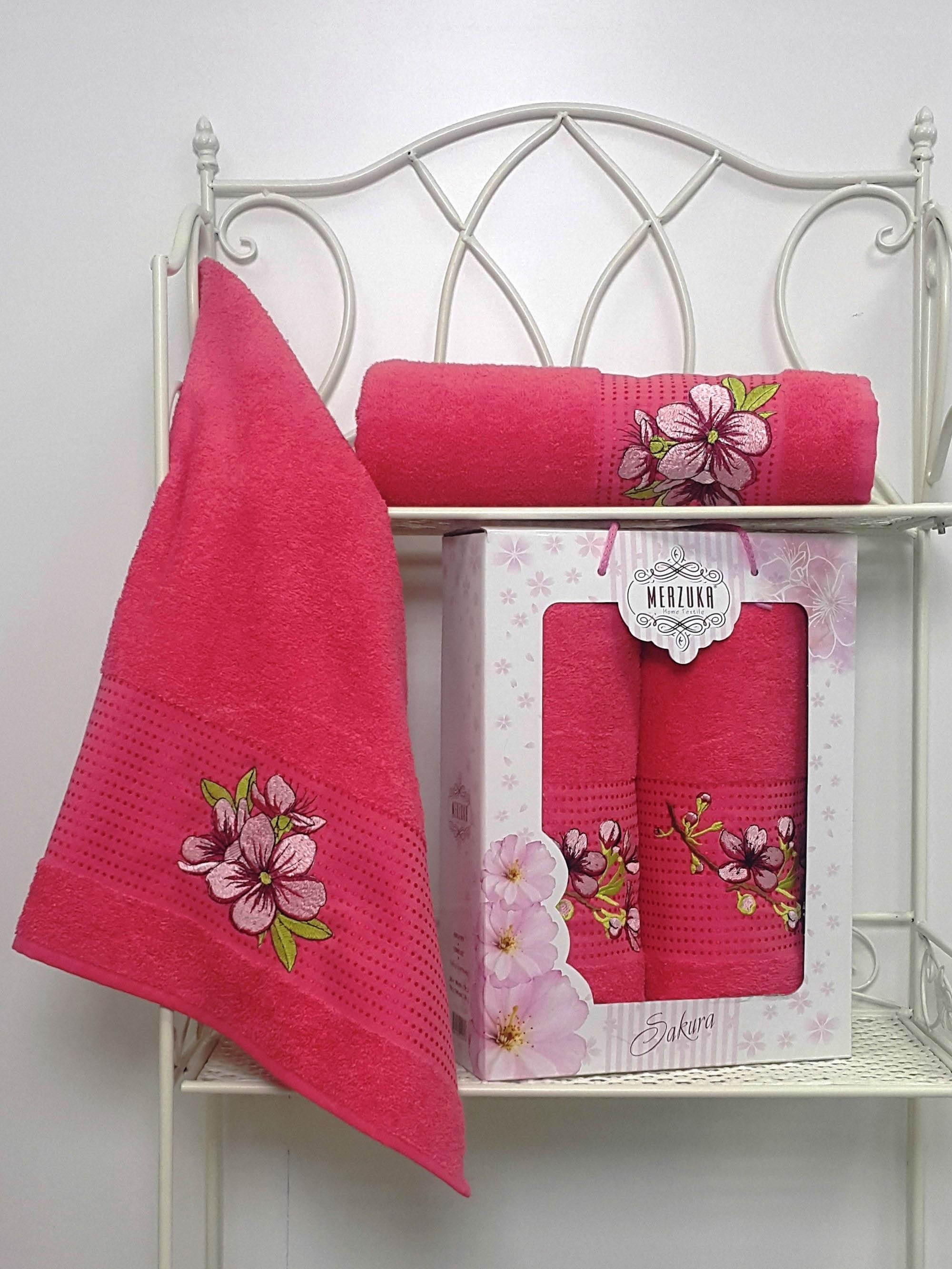 Полотенца Oran Merzuka Полотенце Sakura Цвет: Малиновый (Набор) набор из 3 полотенец merzuka sakura 50х90 2 70х140 8432 терракотовый