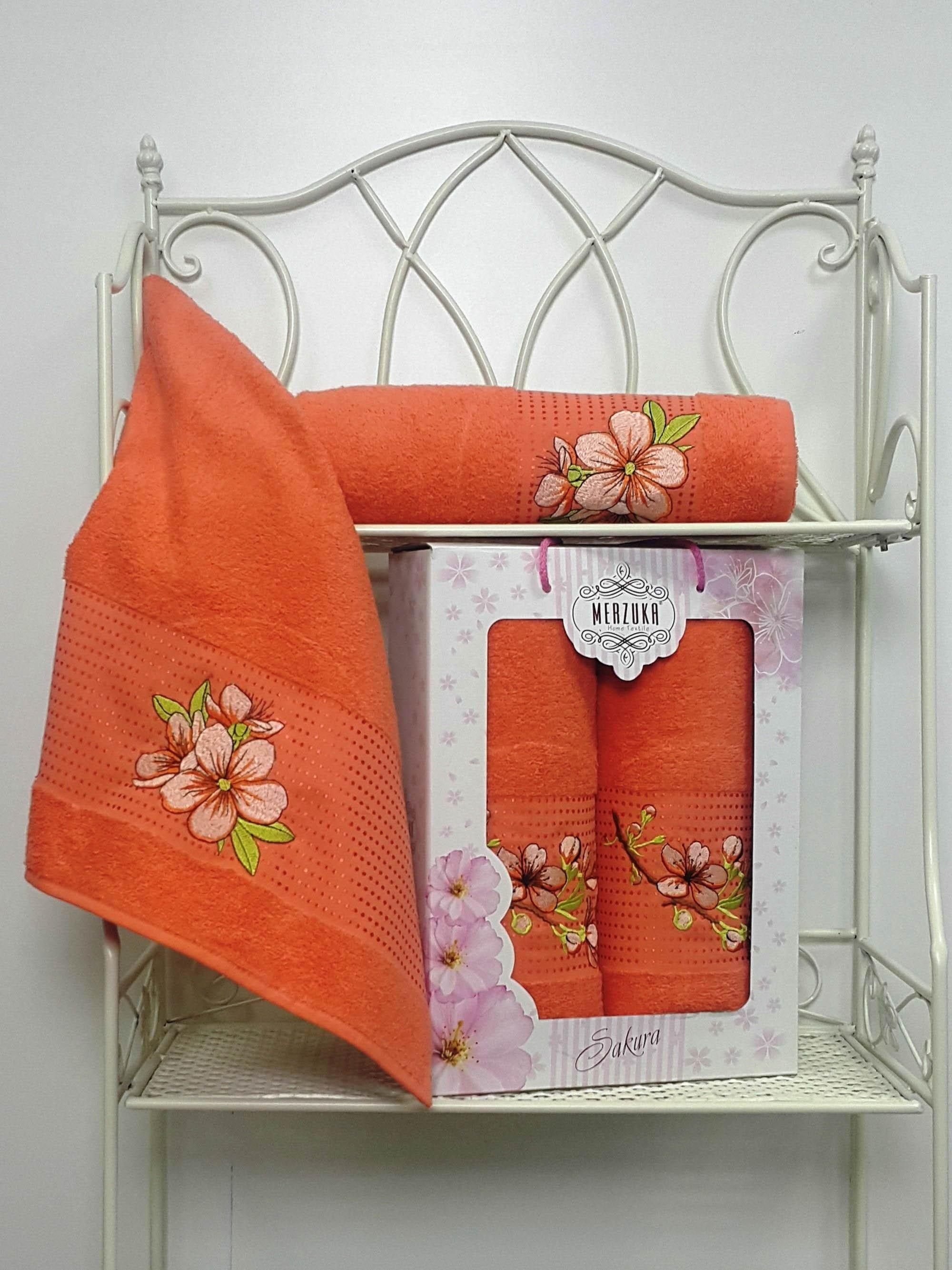 Полотенца Oran Merzuka Полотенце Sakura Цвет: Оранжевый (Набор) набор из 3 полотенец merzuka sakura 50х90 2 70х140 8432 терракотовый