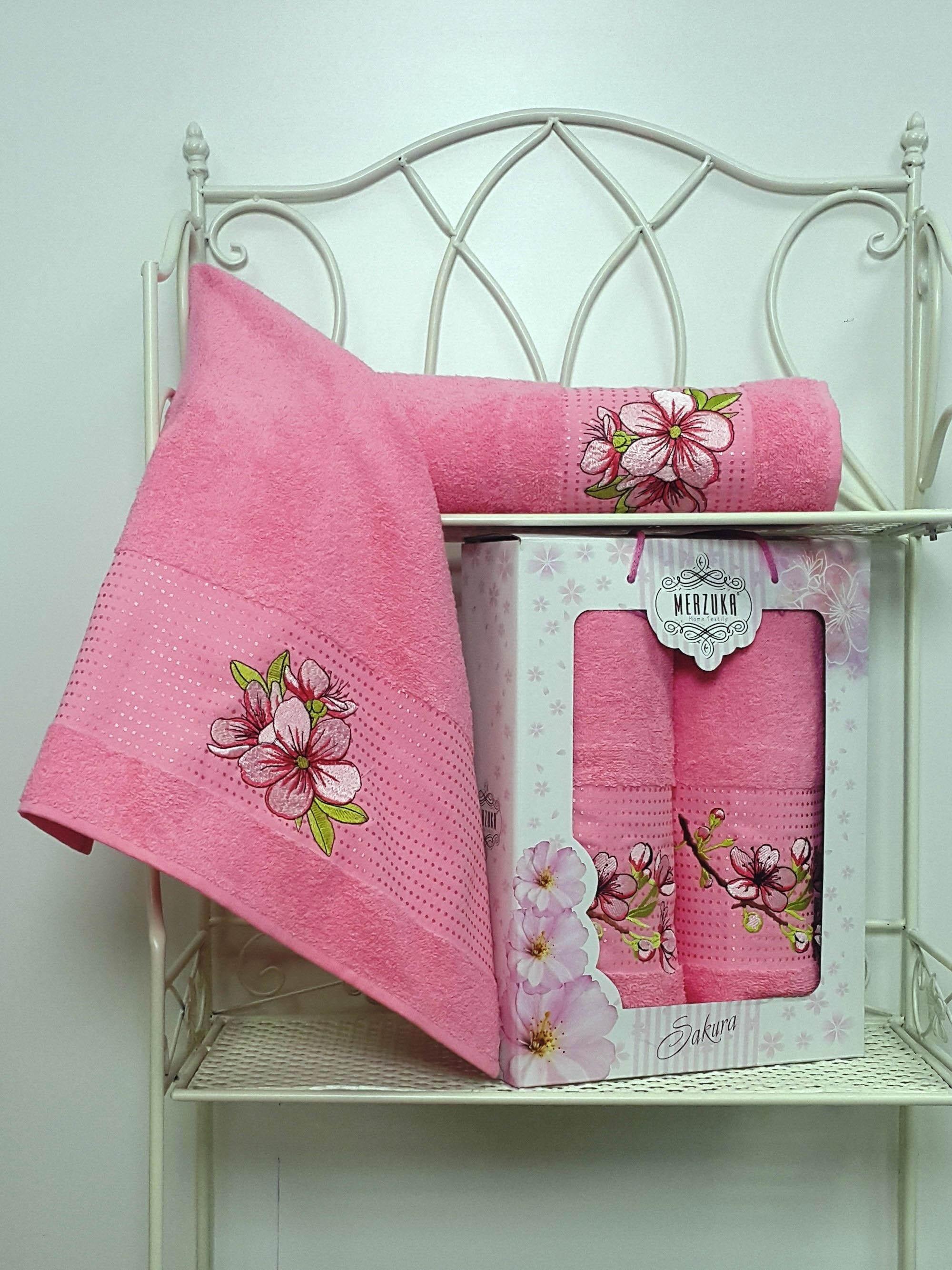 Полотенца Oran Merzuka Полотенце Sakura Цвет: Розовый (Набор) набор из 3 полотенец merzuka sakura 50х90 2 70х140 8432 терракотовый