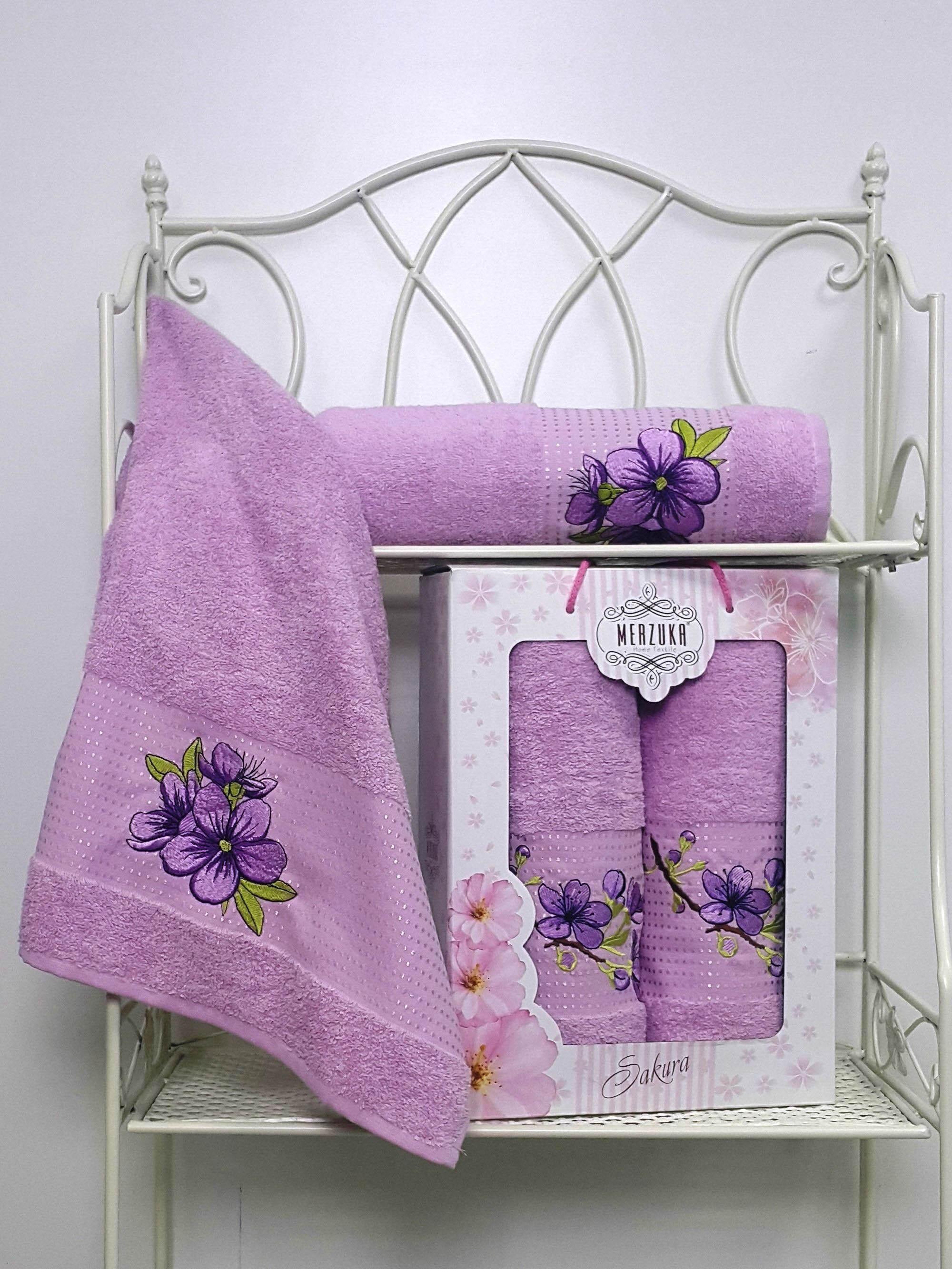Полотенца Oran Merzuka Полотенце Sakura Цвет: Сиреневый (Набор) набор из 3 полотенец merzuka sakura 50х90 2 70х140 8432 сиреневый