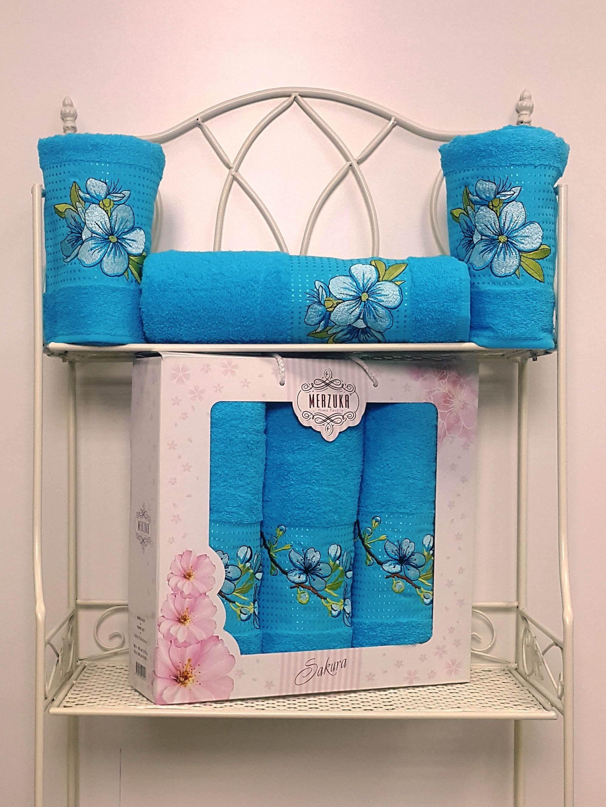 Полотенца Oran Merzuka Полотенце Sakura Цвет: Бирюзовый (Набор) набор из 3 полотенец merzuka sakura 50х90 2 70х140 8432 терракотовый