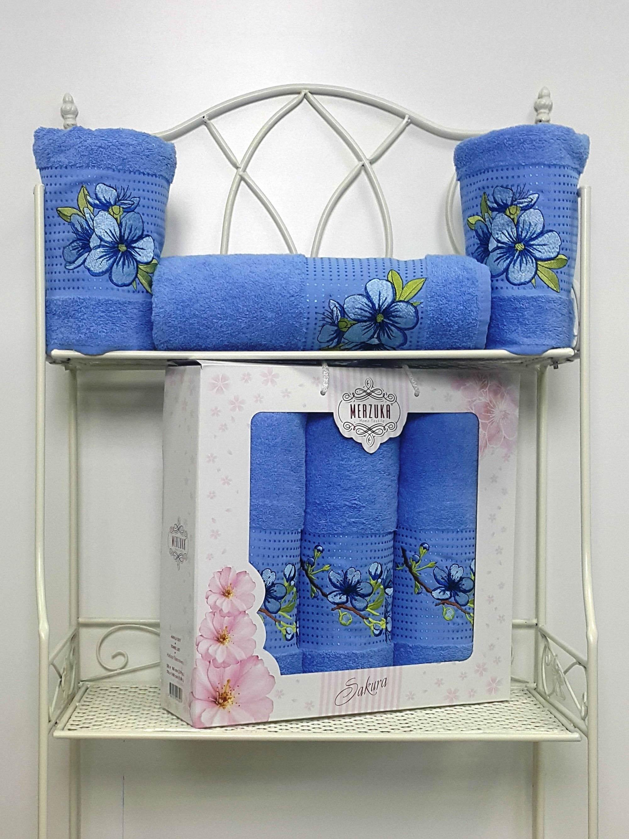 Полотенца Oran Merzuka Полотенце Sakura Цвет: Голубой (Набор) полотенца oran merzuka набор из 3 полотенец sakura цвет зелёный