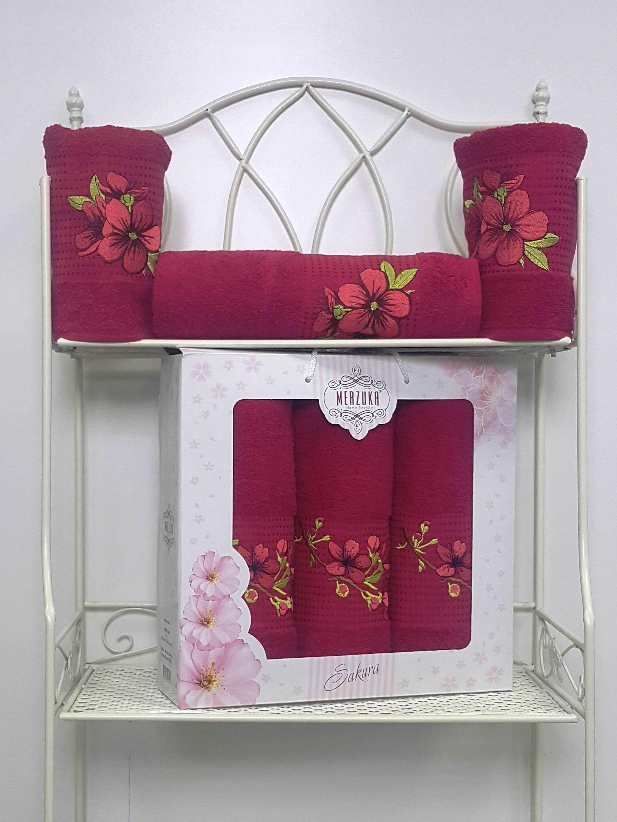 Полотенца Oran Merzuka Полотенце Sakura Цвет: Бордовый (Набор) полотенца oran merzuka набор из 3 полотенец sakura цвет зелёный