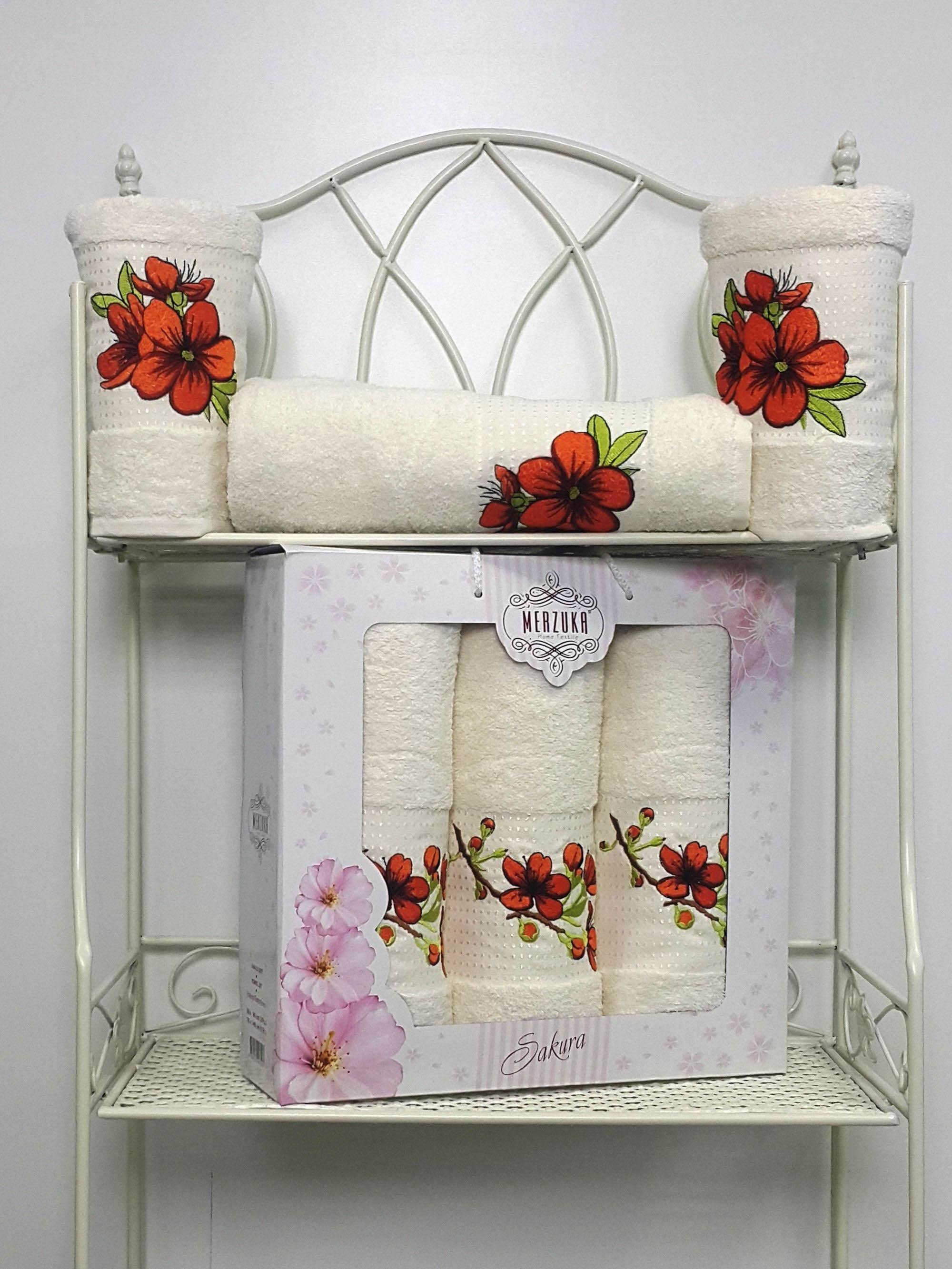 Полотенца Oran Merzuka Полотенце Sakura Цвет: Кремовый (Набор) набор из 3 полотенец merzuka sakura 50х90 2 70х140 8432 кремовый