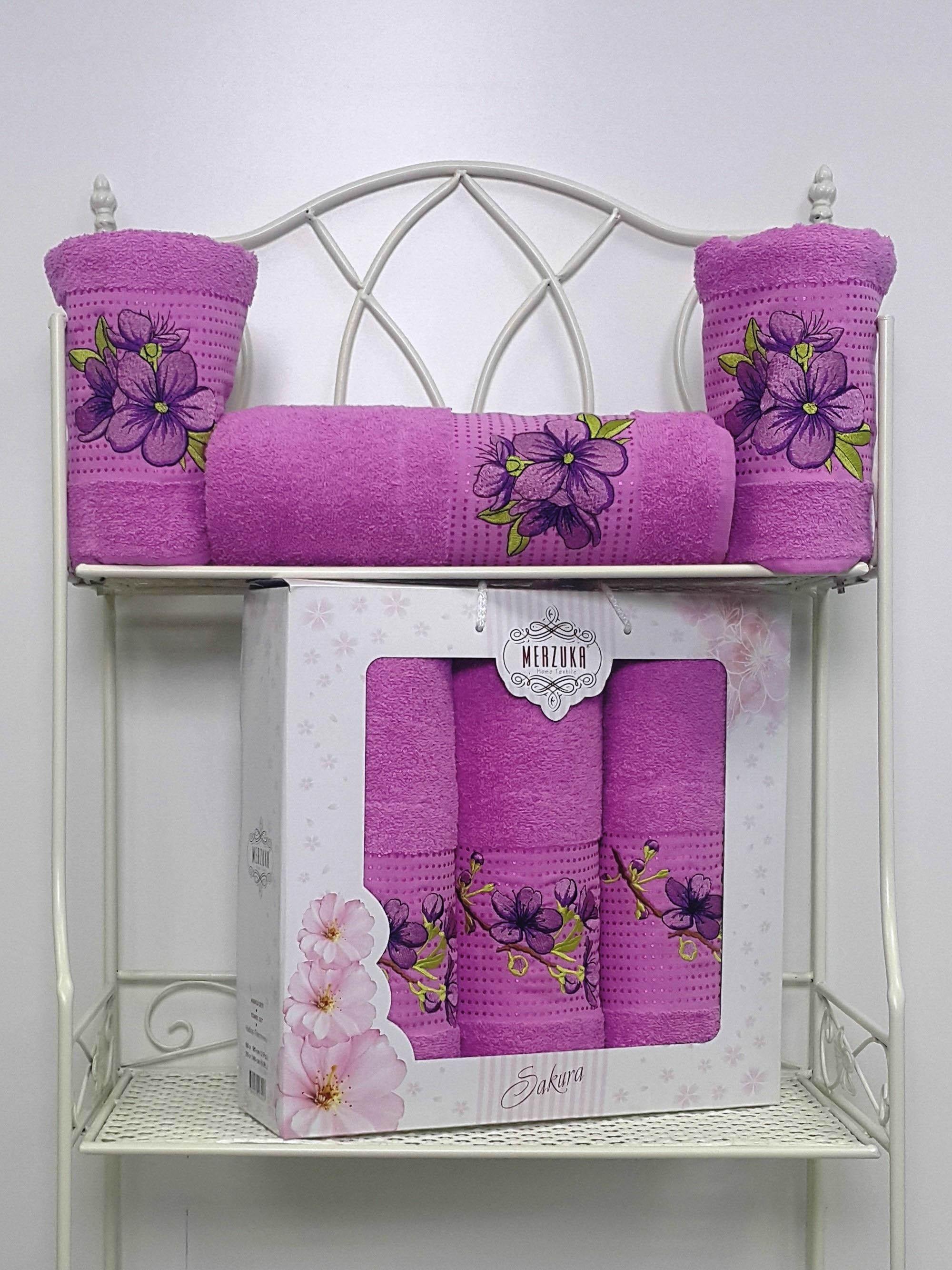 Полотенца Oran Merzuka Полотенце Sakura Цвет: Светло-Лиловый (Набор) набор из 3 полотенец merzuka sakura 50х90 2 70х140 8432 терракотовый