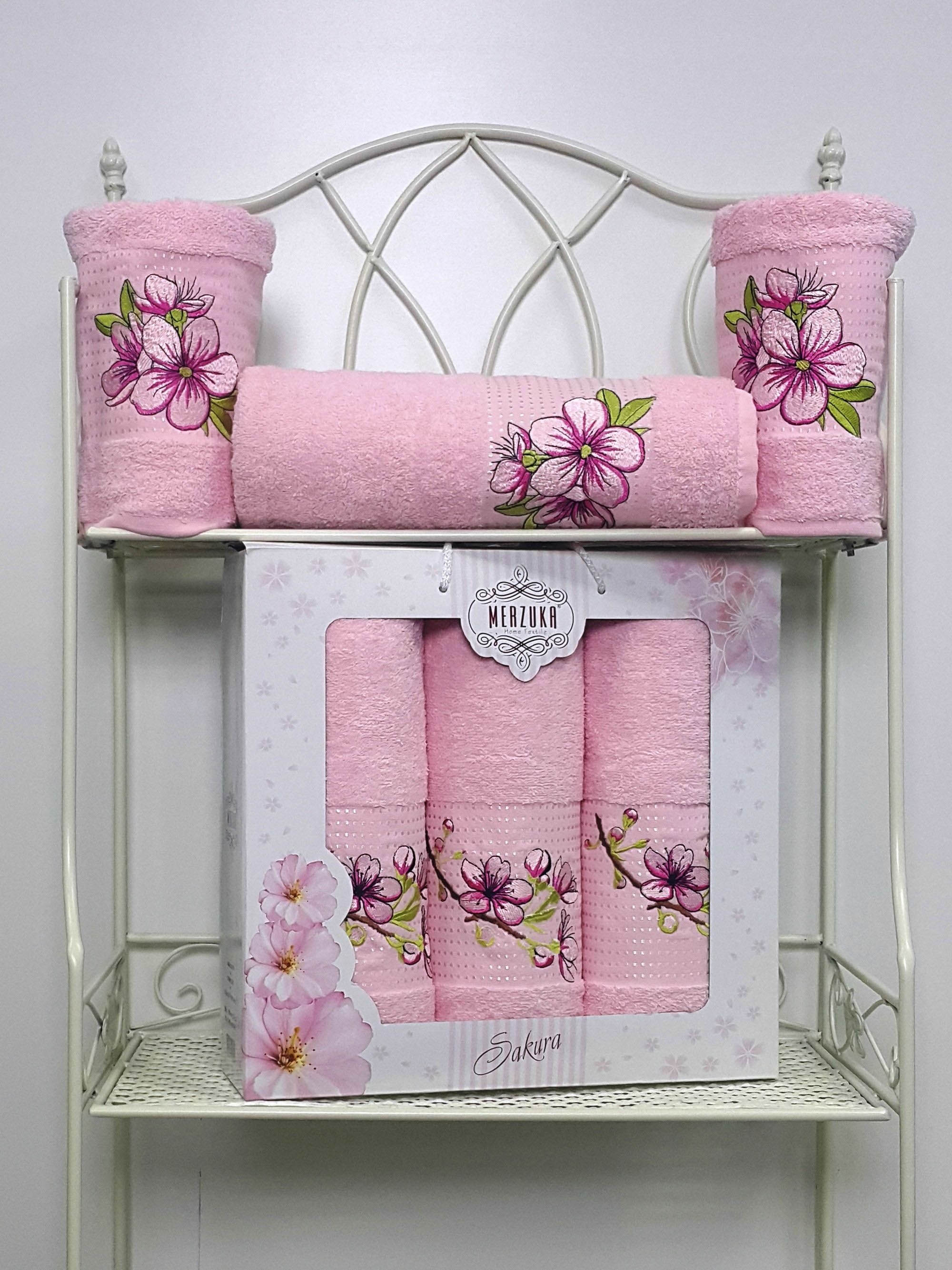 Полотенца Oran Merzuka Полотенце Sakura Цвет: Светло-Розовый (Набор) набор из 3 полотенец merzuka sakura 50х90 2 70х140 8432 терракотовый