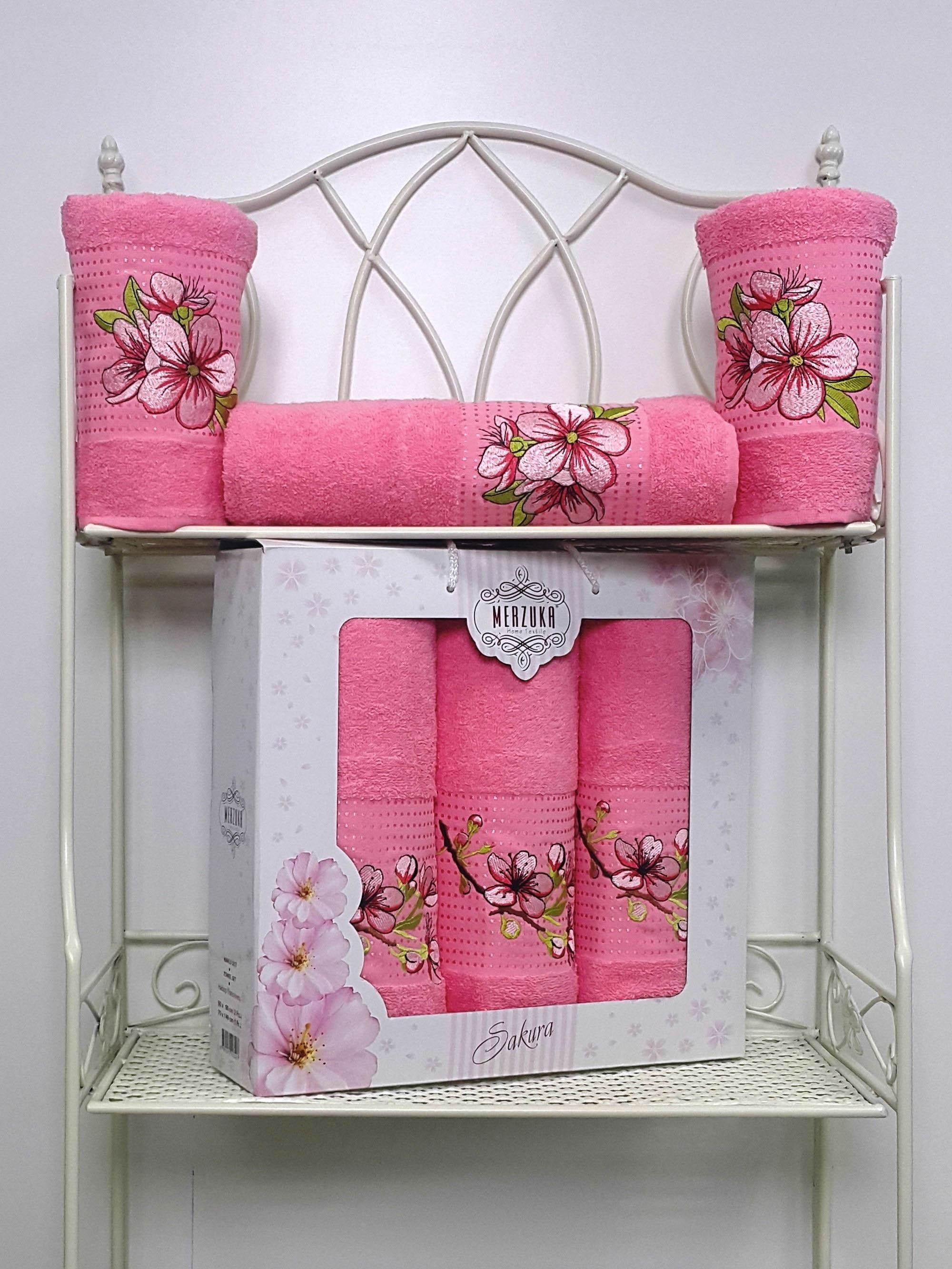 Полотенца Oran Merzuka Полотенце Sakura Цвет: Розовый (Набор) полотенца oran merzuka набор из 3 полотенец sakura цвет зелёный