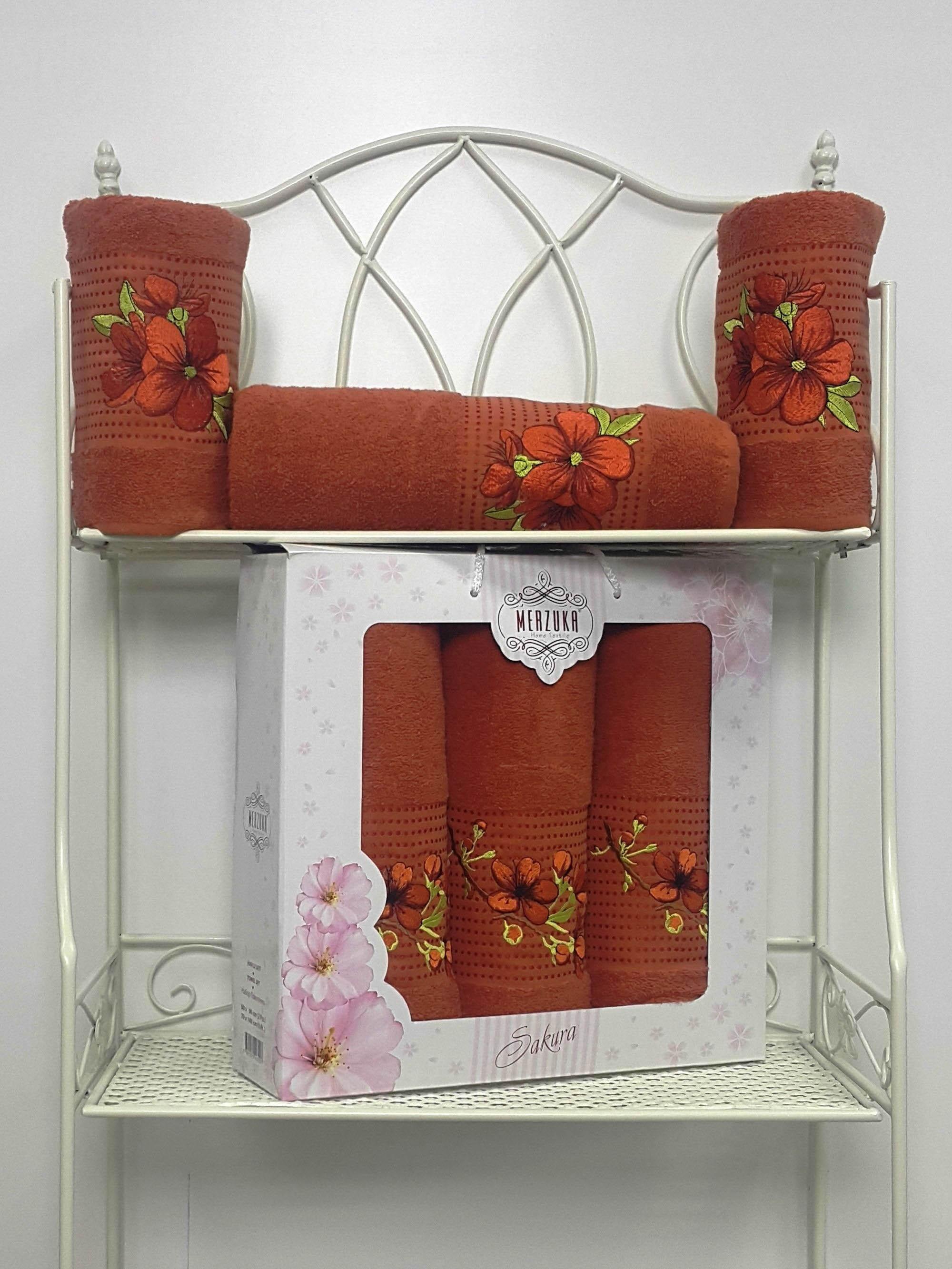 Полотенца Oran Merzuka Полотенце Sakura Цвет: Терракотовый (Набор) полотенца oran merzuka набор из 3 полотенец sakura цвет зелёный