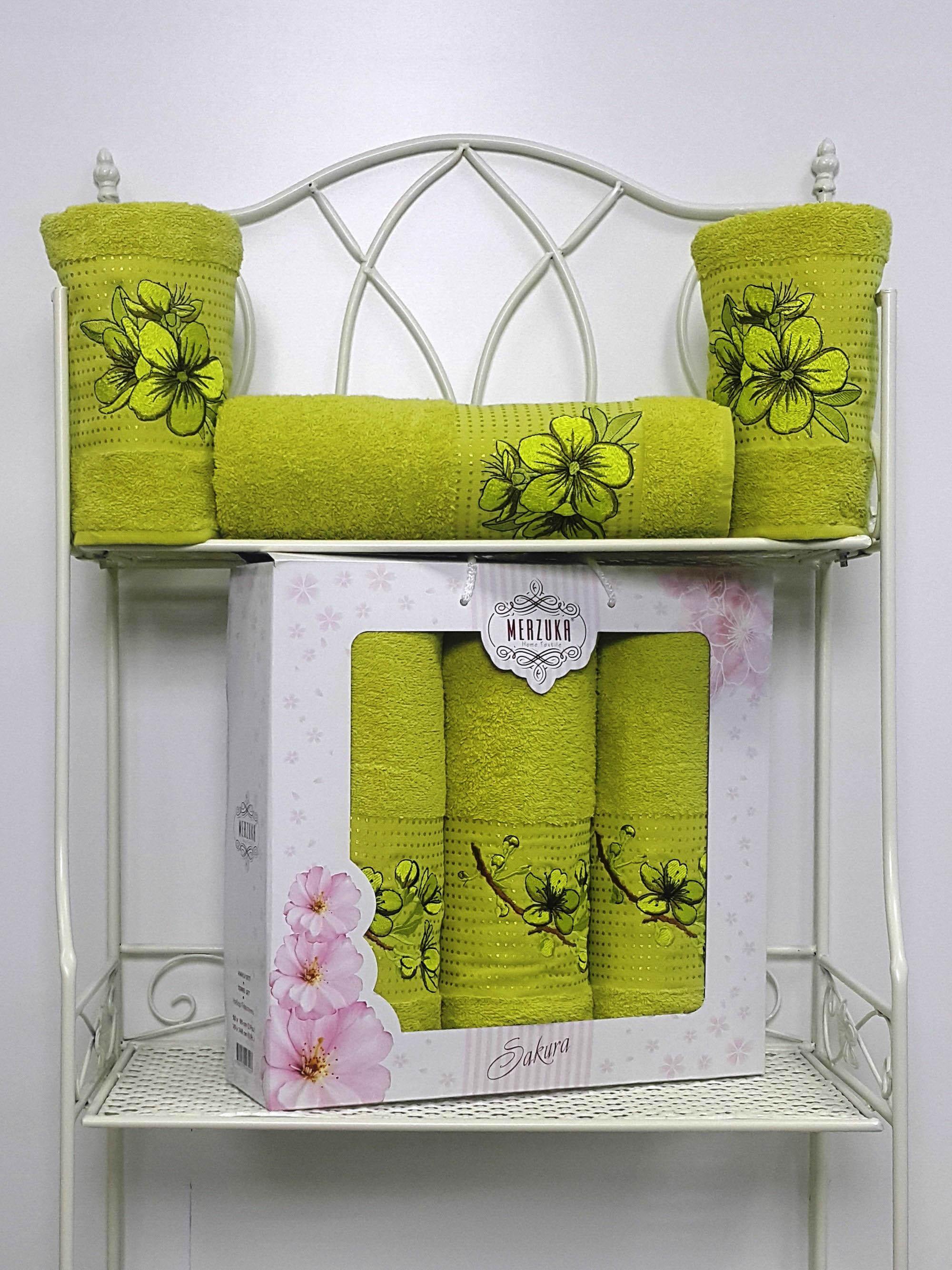 Полотенца Oran Merzuka Набор из 3 полотенец Sakura Цвет: Зелёный набор из 2 полотенец merzuka sakura 50х90 70х140 8430 зелёный