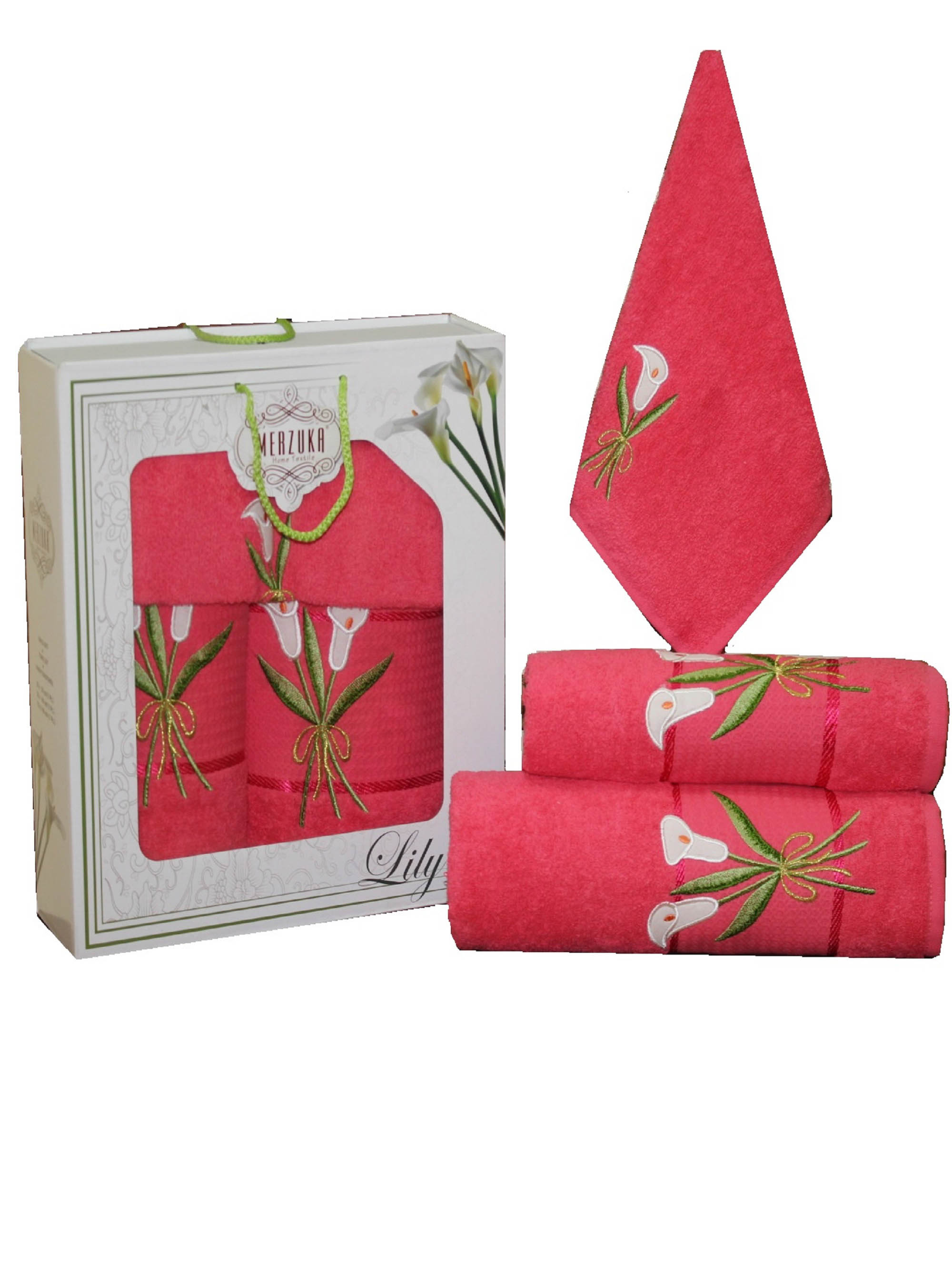 Полотенца Oran Merzuka Набор из 3 полотенец Zambak Цвет: Малиновый набор из 3 полотенец merzuka sakura 50х90 2 70х140 8432 оранжевый