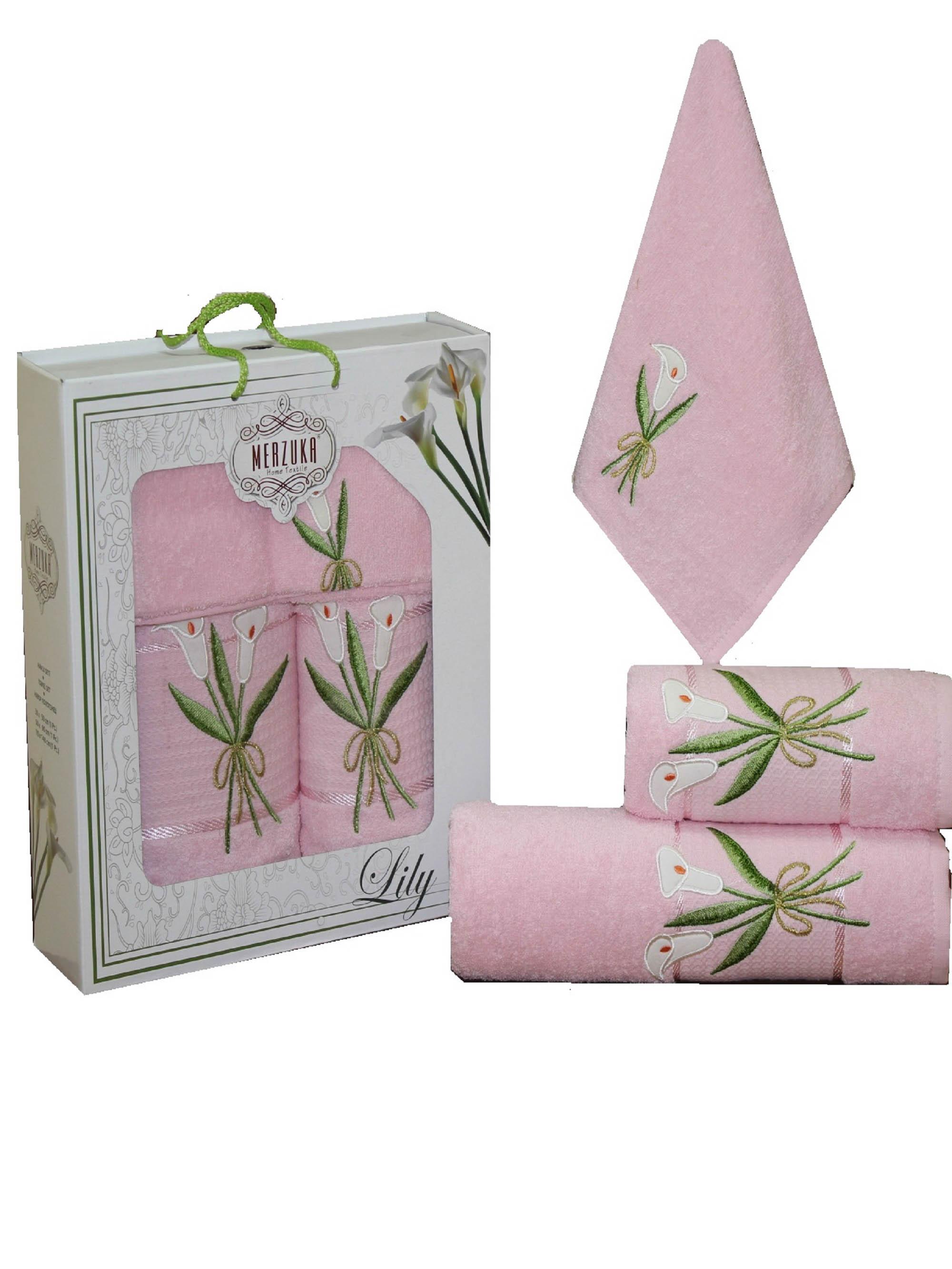 Полотенца Oran Merzuka Набор из 3 полотенец Zambak Цвет: Розовый набор из 3 полотенец merzuka sakura 50х90 2 70х140 8432 оранжевый