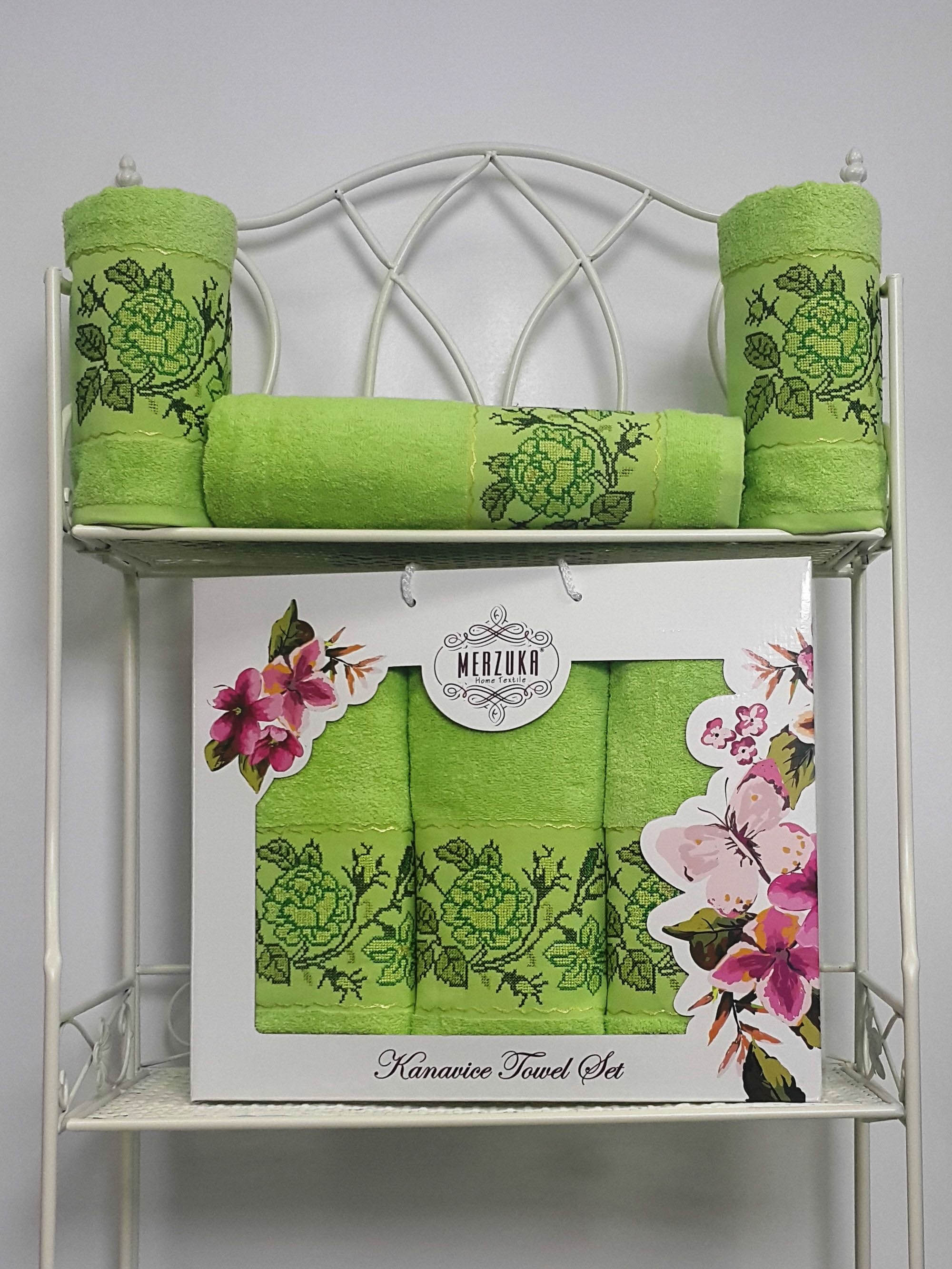 Полотенца Oran Merzuka Полотенце Kanavice Цвет: Зелёный (Набор) набор из 3 полотенец merzuka sakura 50х90 2 70х140 8432 оранжевый