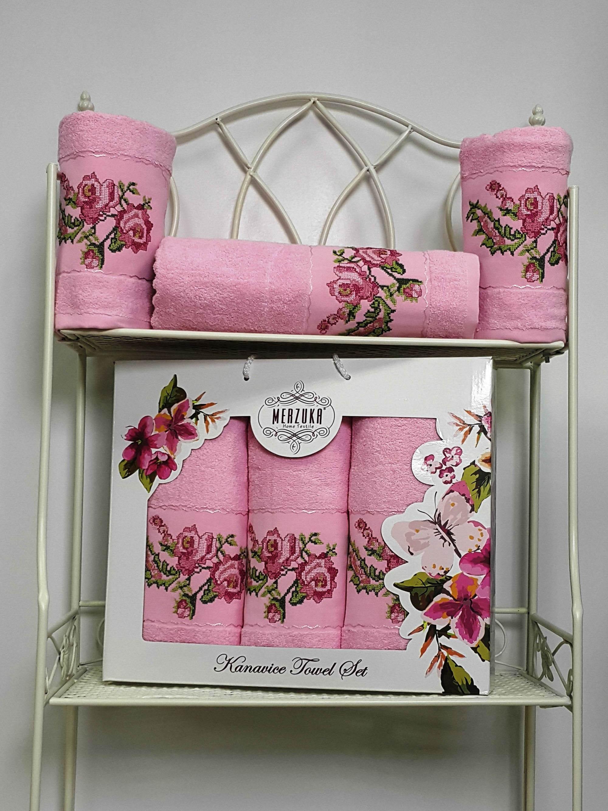 Полотенца Oran Merzuka Полотенце Kanavice Цвет: Розовый (Набор) набор из 3 полотенец merzuka sakura 50х90 2 70х140 8432 оранжевый
