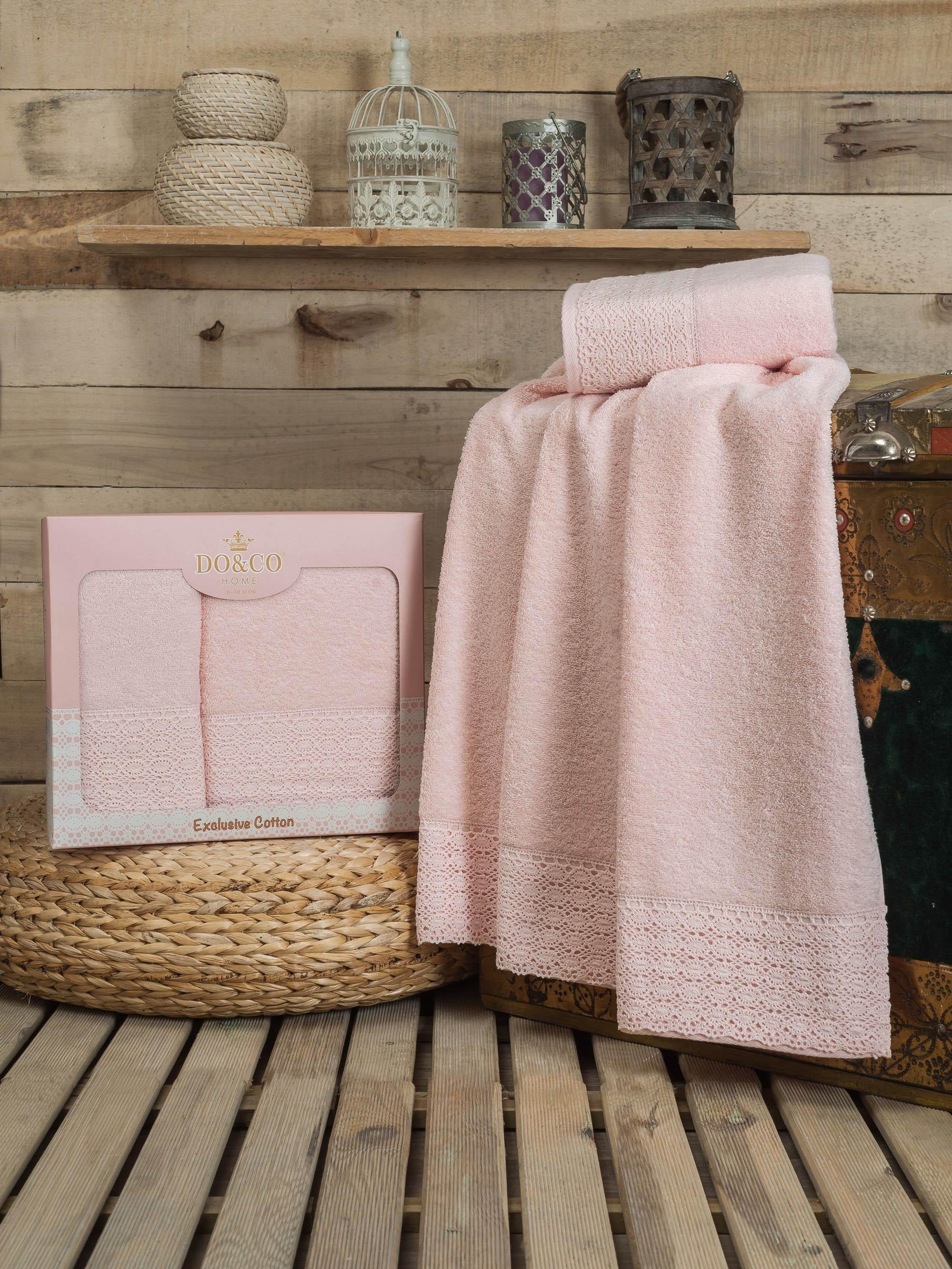 DO'n'CO Полотенце Dantela Цвет: Розовый (Набор)