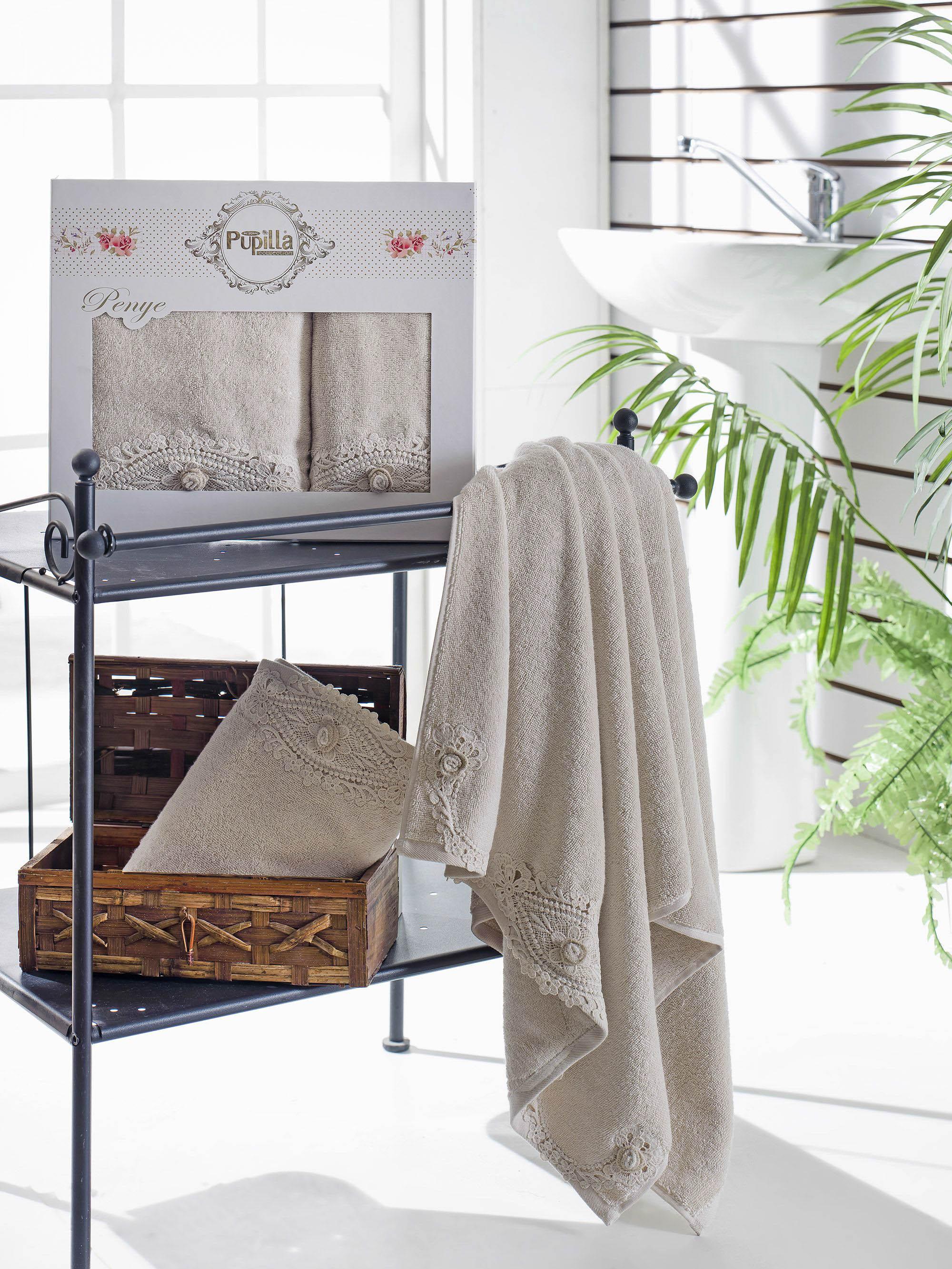 Полотенца Pupilla Набор из 2 полотенец Daisy Цвет: Бежевый набор из 3 полотенец merzuka sakura 50х90 2 70х140 8432 оранжевый