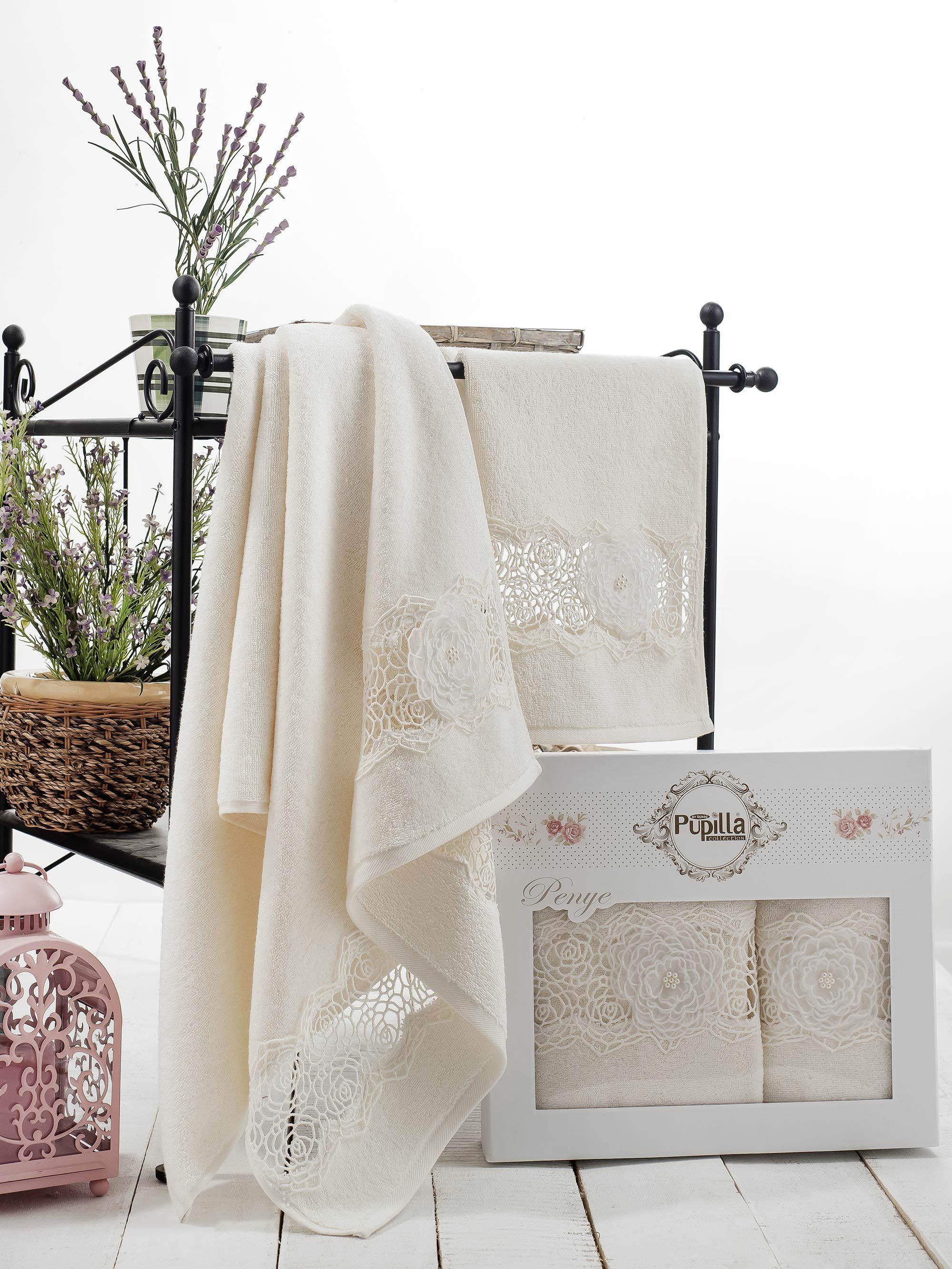 Полотенца Pupilla Набор из 2 полотенец Rose Цвет: Кремовый