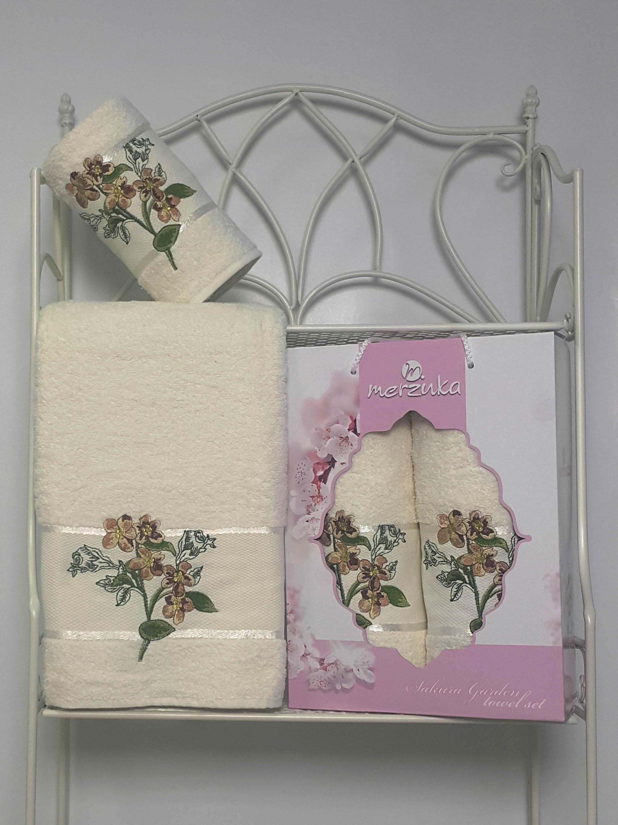 Полотенца Oran Merzuka Набор из 2 полотенец Sakura Garden Цвет: Кремовый полотенца oran merzuka набор из 3 полотенец sakura цвет зелёный