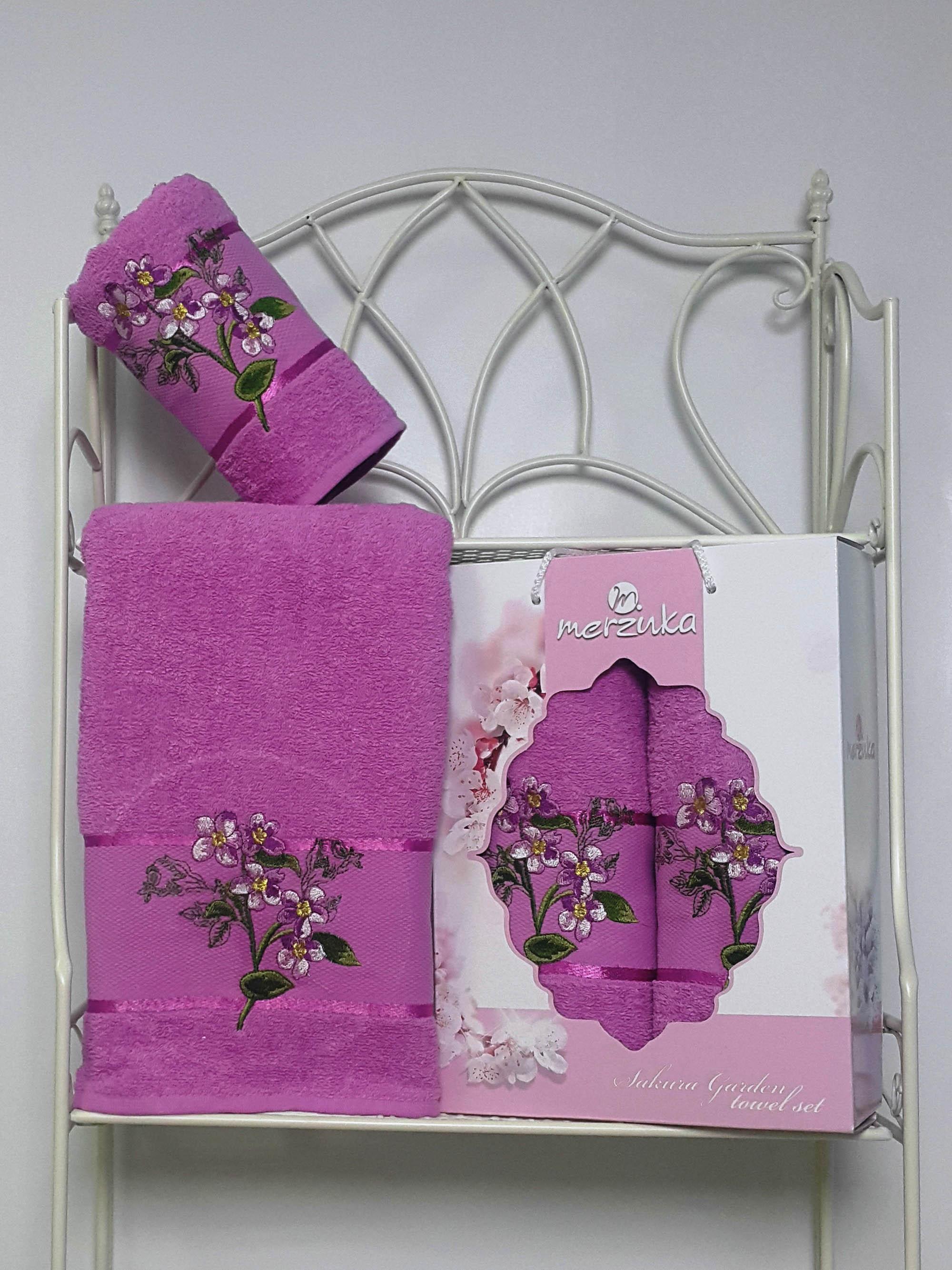 Полотенца Oran Merzuka Набор из 2 полотенец Sakura Garden Цвет: Светло-Лиловый набор из 2 полотенец merzuka sakura 50х90 70х140 8430 кремовый