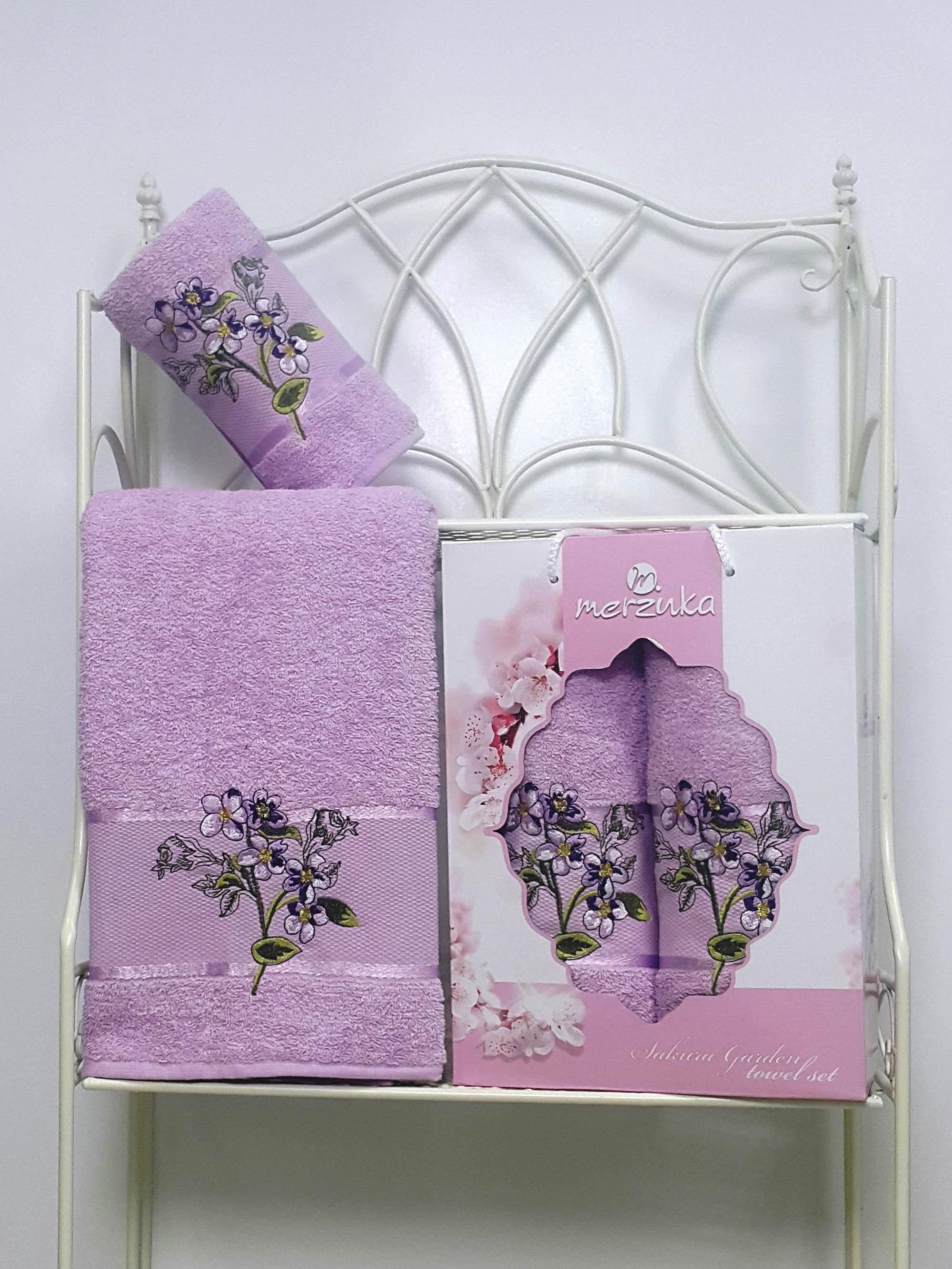 Полотенца Oran Merzuka Набор из 2 полотенец Sakura Garden Цвет: Сиреневый набор из 2 полотенец merzuka sakura 50х90 70х140 8430 кремовый