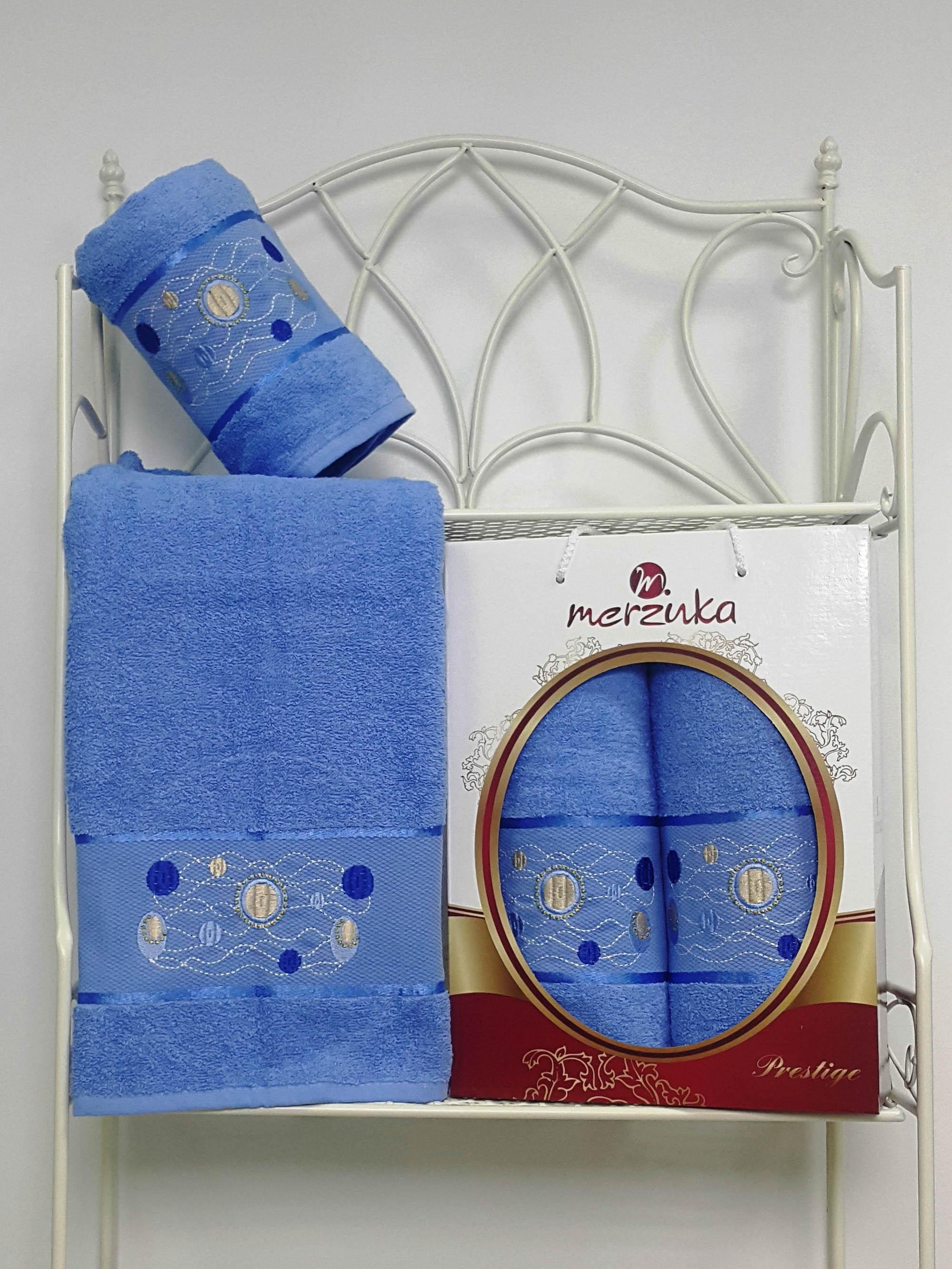 Полотенца Oran Merzuka Набор из 2 полотенец Prestij Цвет: Голубой набор из 2 полотенец merzuka sakura 50х90 70х140 8430 кремовый