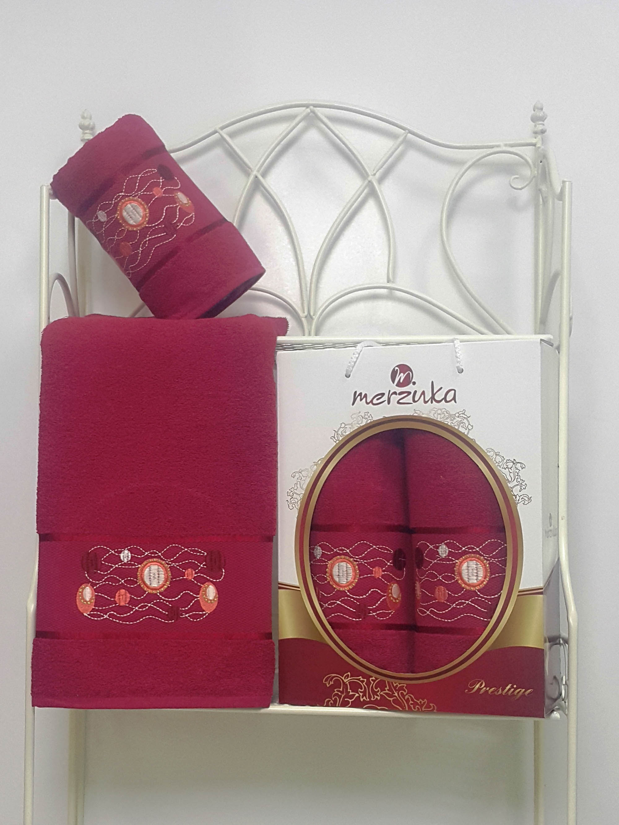 Полотенца Oran Merzuka Набор из 2 полотенец Prestij Цвет: Бордовый набор из 2 полотенец merzuka sakura 50х90 70х140 8430 кремовый