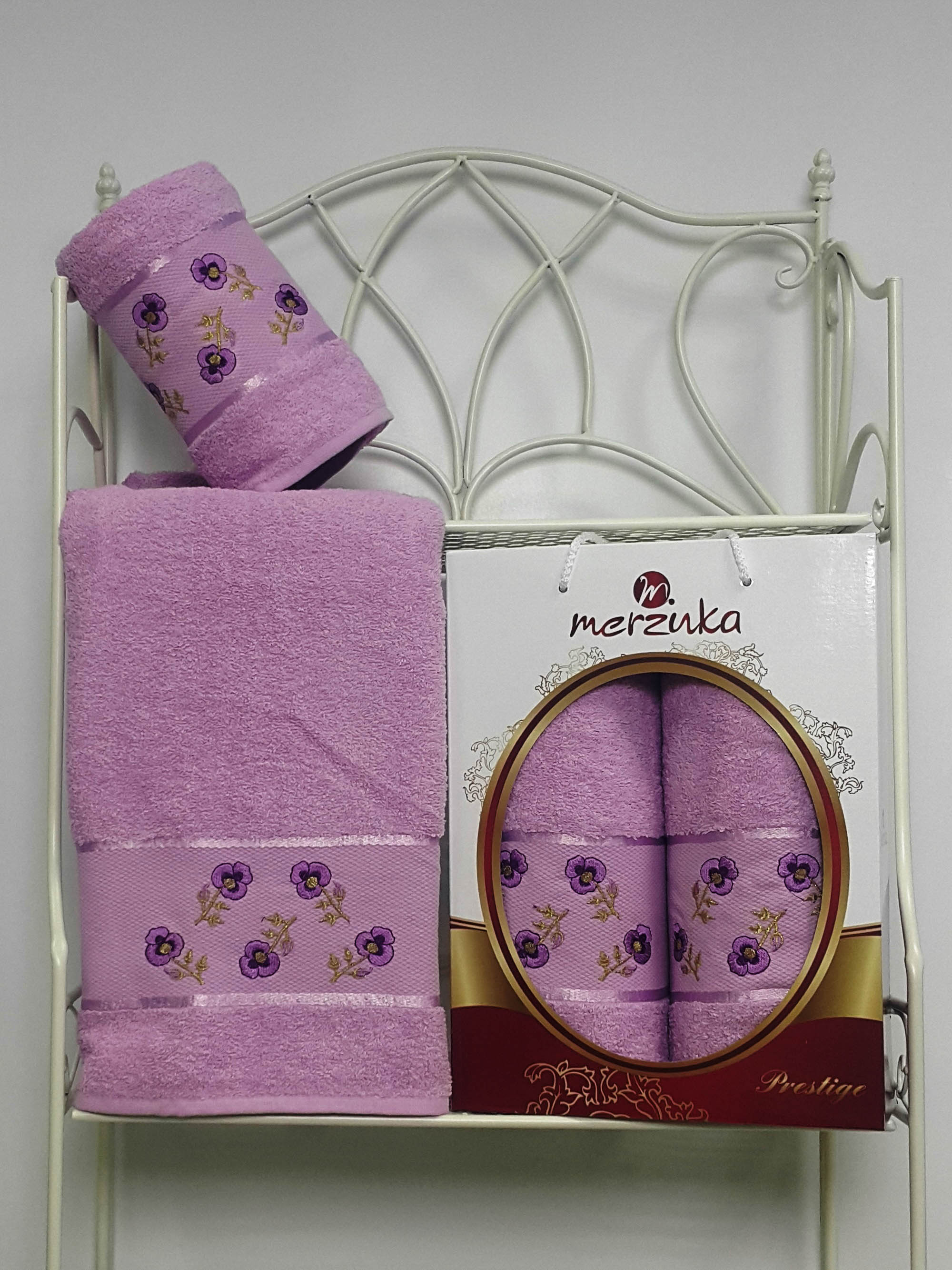 где купить  Полотенца Oran Merzuka Набор из 2 полотенец Prestij Цвет: Сиреневый  по лучшей цене