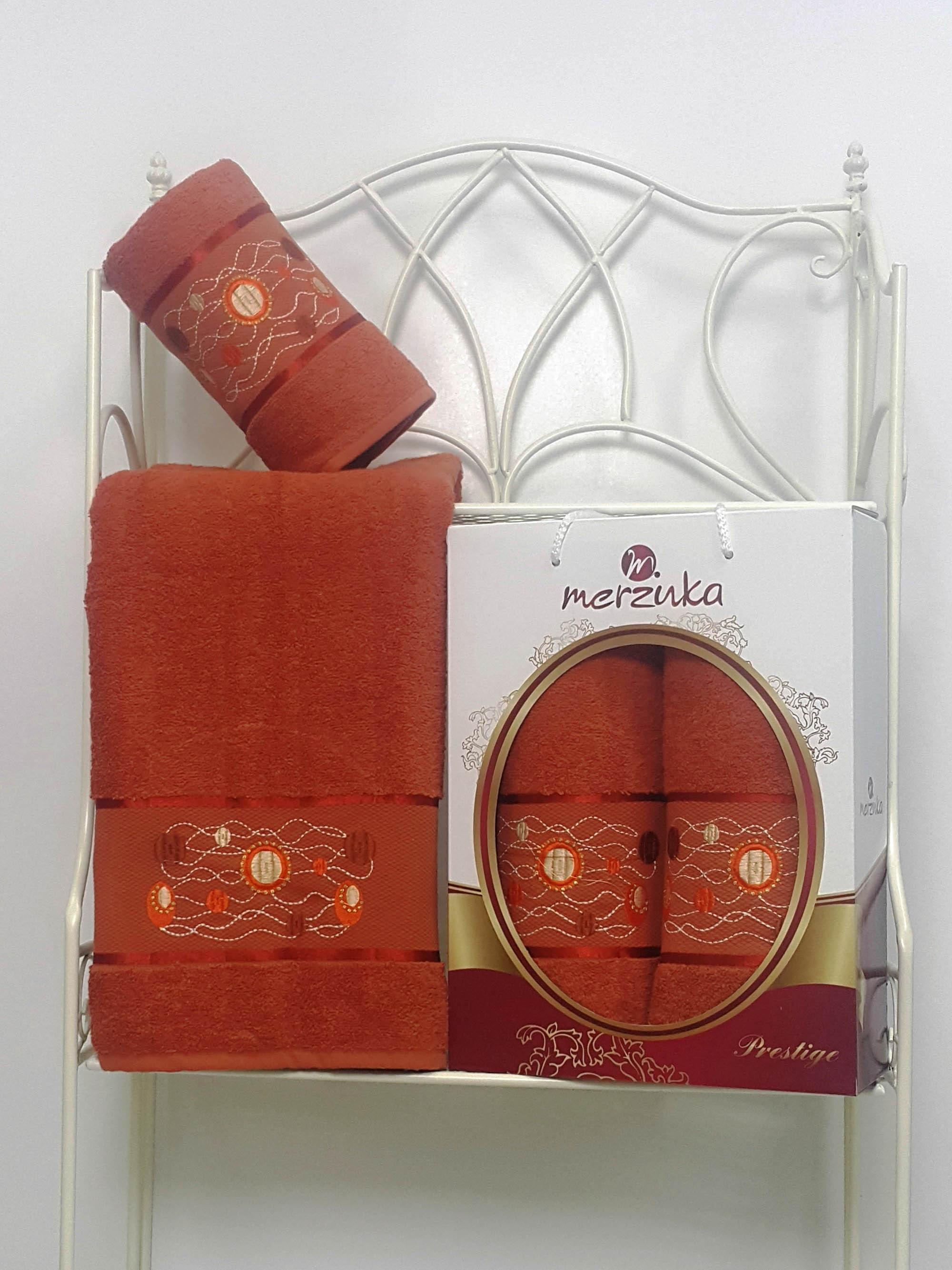 Полотенца Oran Merzuka Набор из 2 полотенец Prestij Цвет: Терракотовый набор из 2 полотенец merzuka sakura 50х90 70х140 8430 кремовый