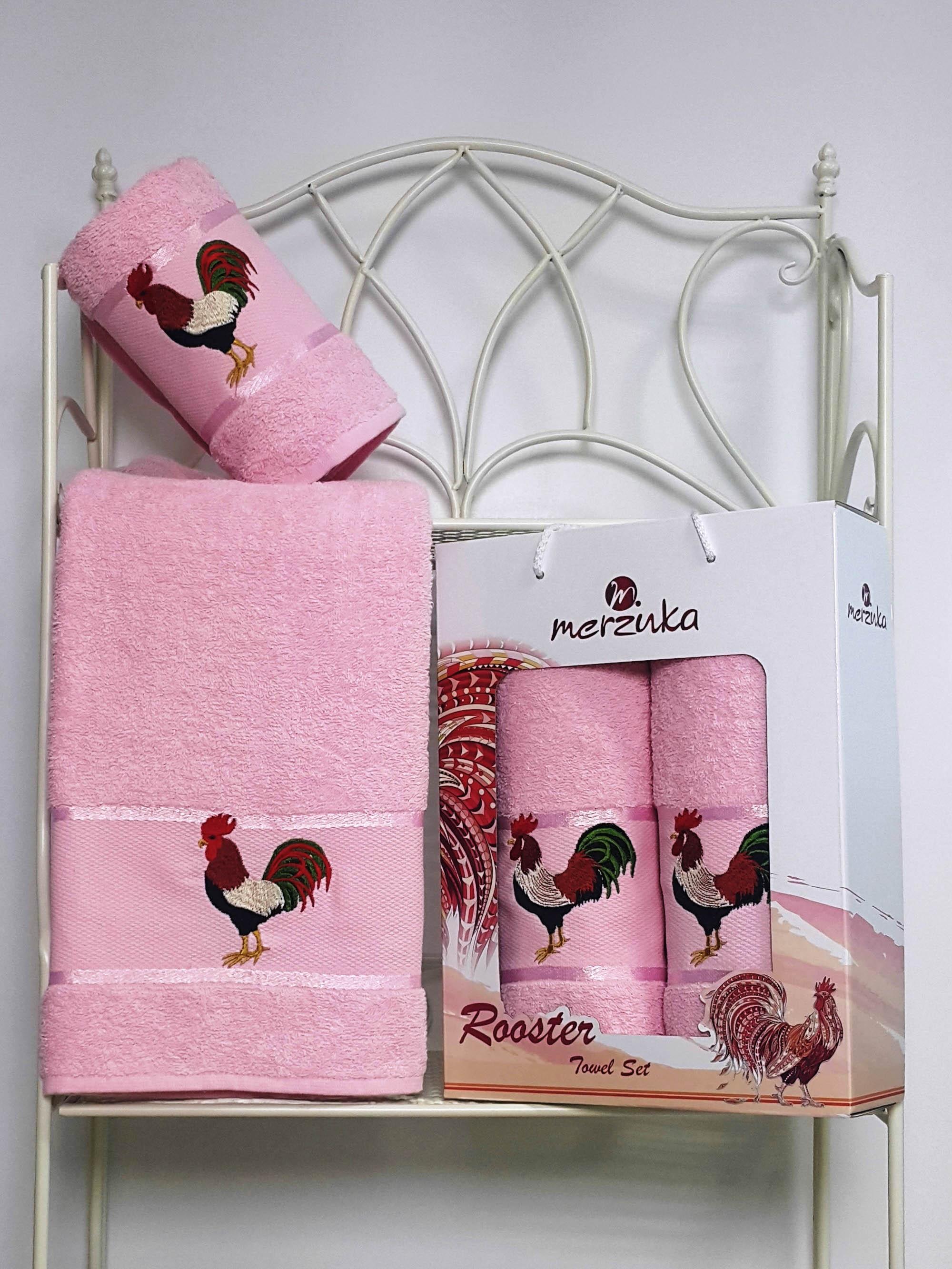 Полотенца Oran Merzuka Набор полотенец Символ Года Цвет: Светло-Розовый (50х80 см (1 шт) и 70х130 (1 шт))
