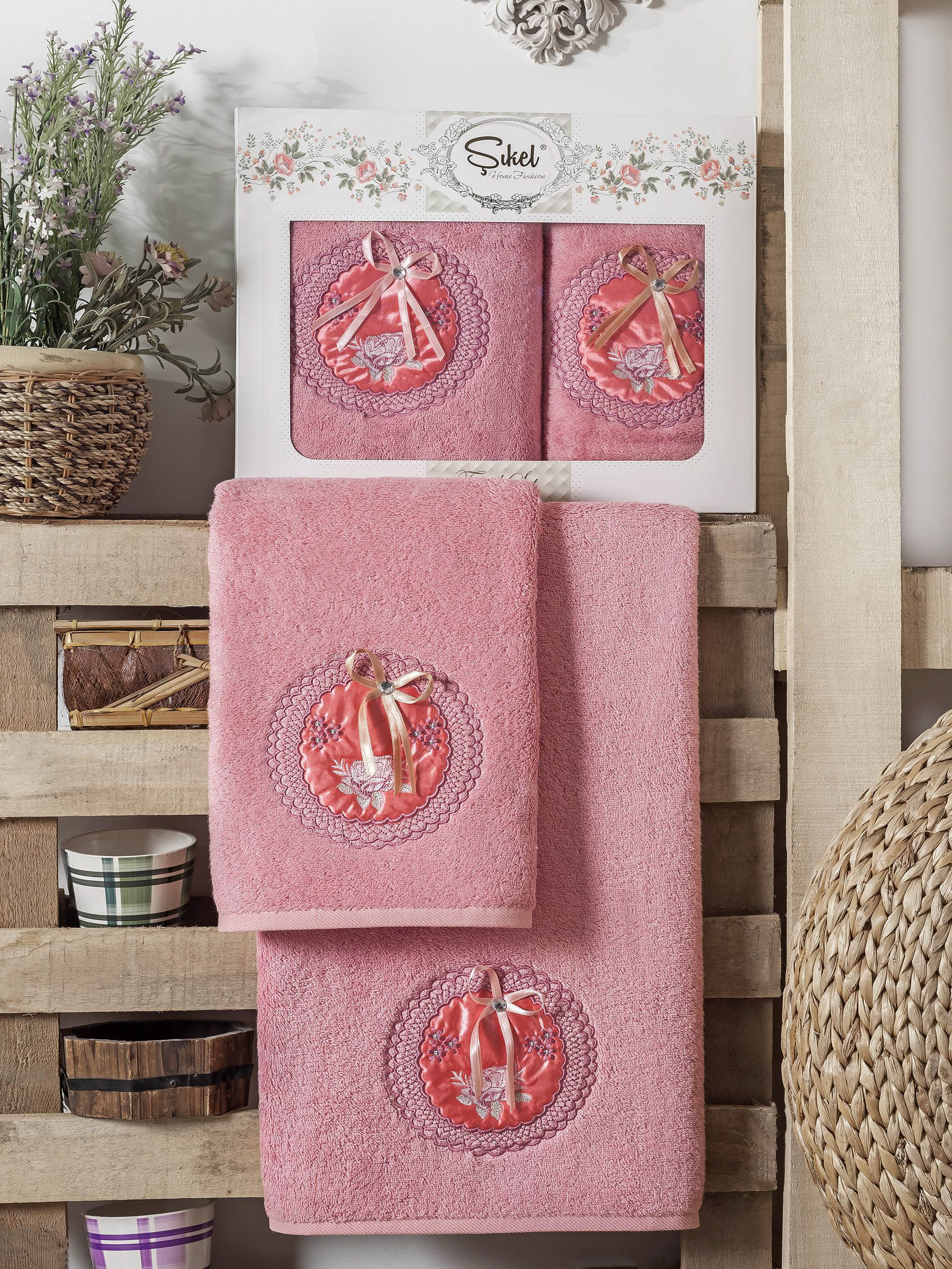 Полотенца Sikel Набор из 2 полотенец Nazande Цвет: Розовый набор из 3 полотенец merzuka sakura 50х90 2 70х140 8432 терракотовый