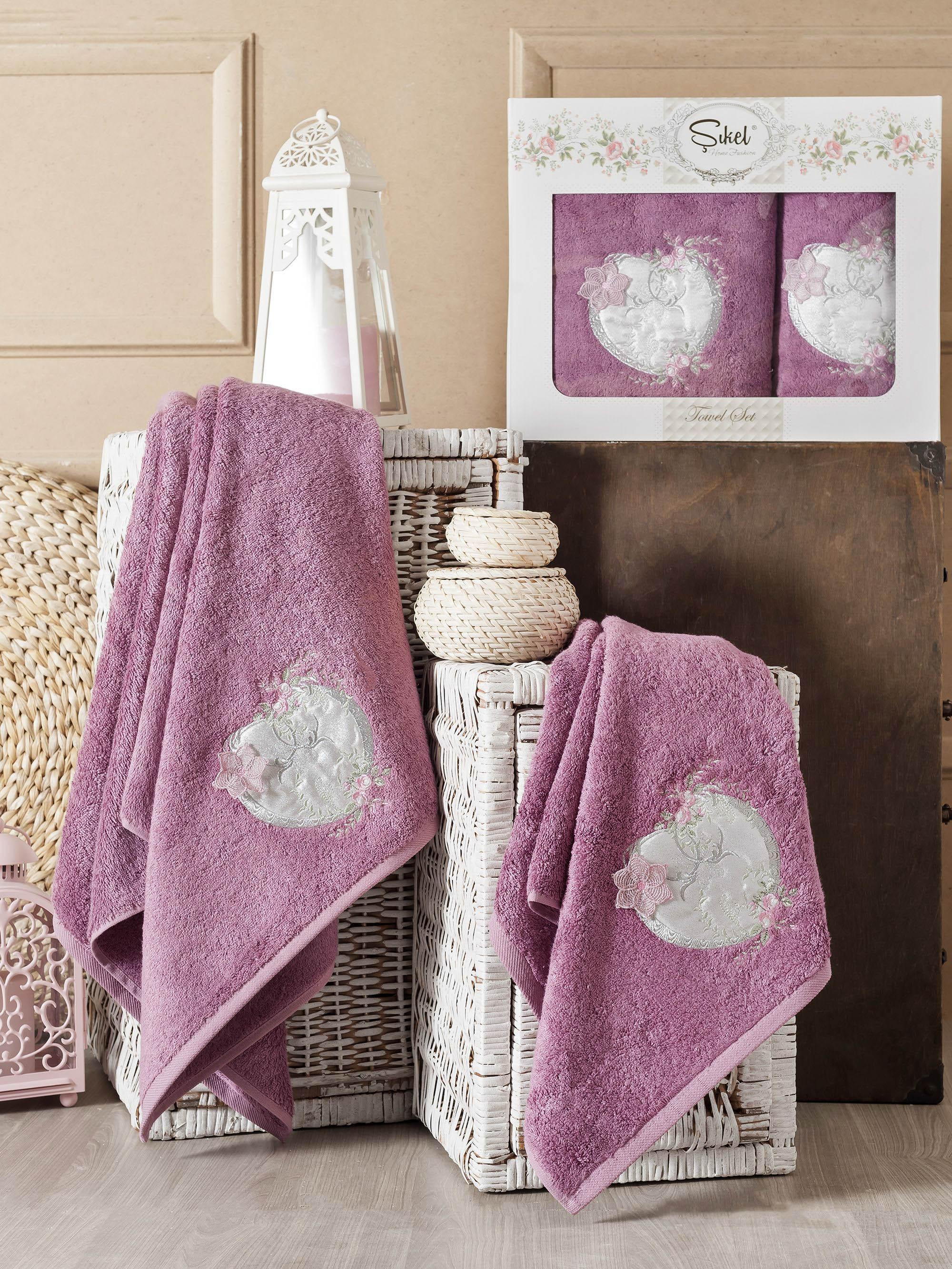 Полотенца Sikel Набор из 2 полотенец Simli Kalp Цвет: Фиолетовый набор из 3 полотенец merzuka sakura 50х90 2 70х140 8432 терракотовый