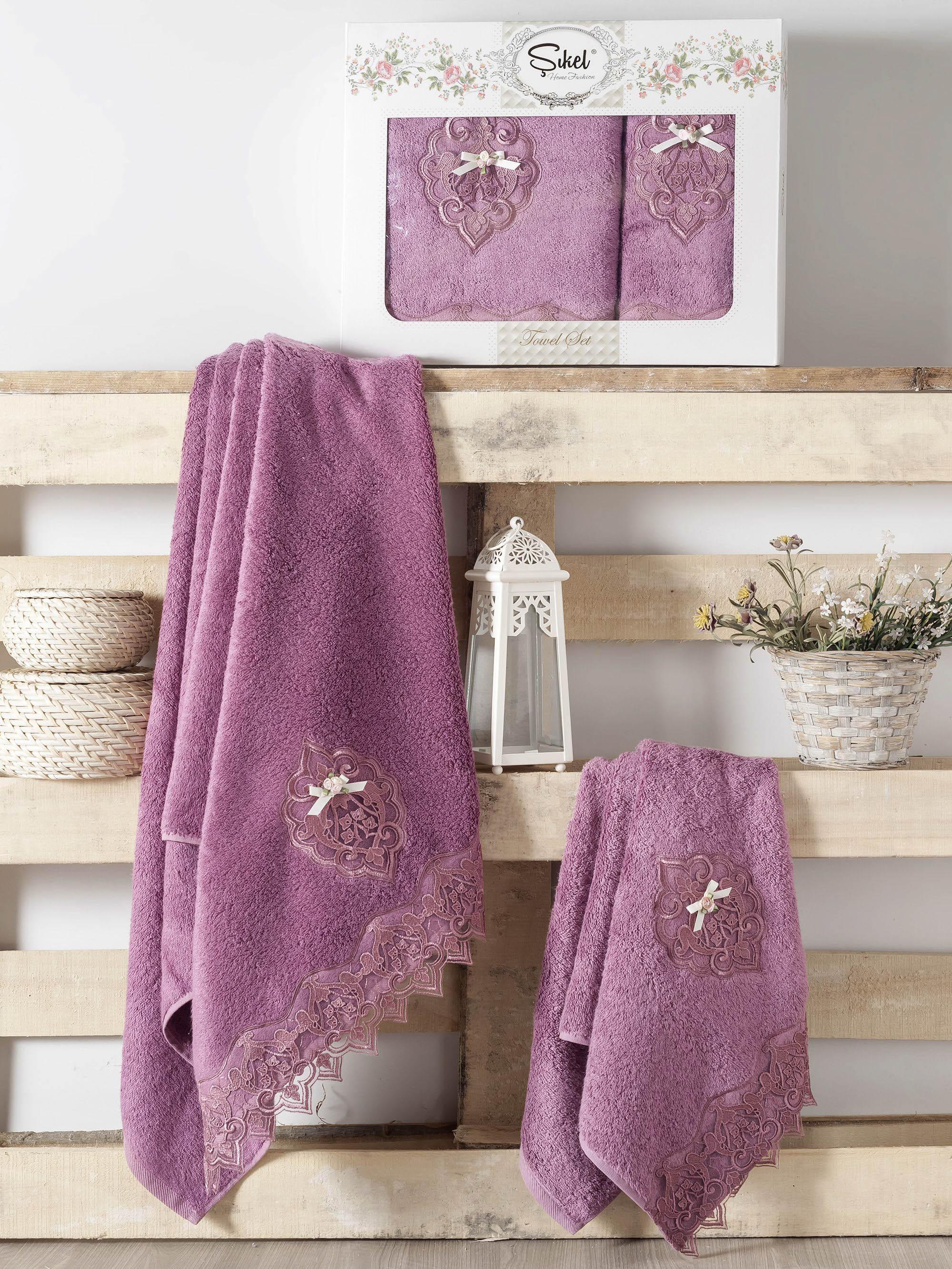 Полотенца Sikel Набор из 2 полотенец Palmira Цвет: Фиолетовый набор из 3 полотенец merzuka sakura 50х90 2 70х140 8432 оранжевый
