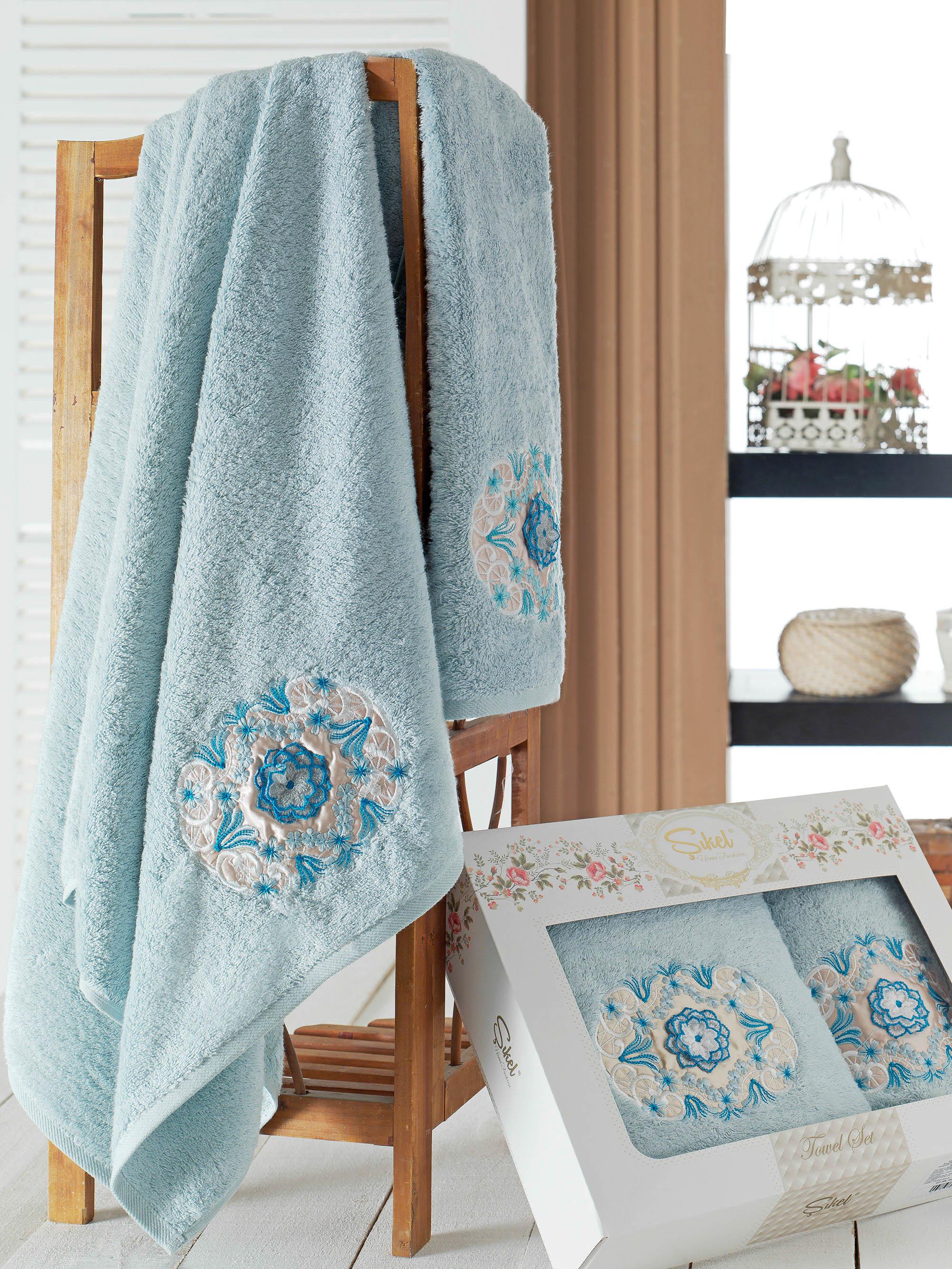 Полотенца Sikel Набор из 2 полотенец Kamelya Цвет: Голубой набор из 3 полотенец merzuka sakura 50х90 2 70х140 8432 терракотовый