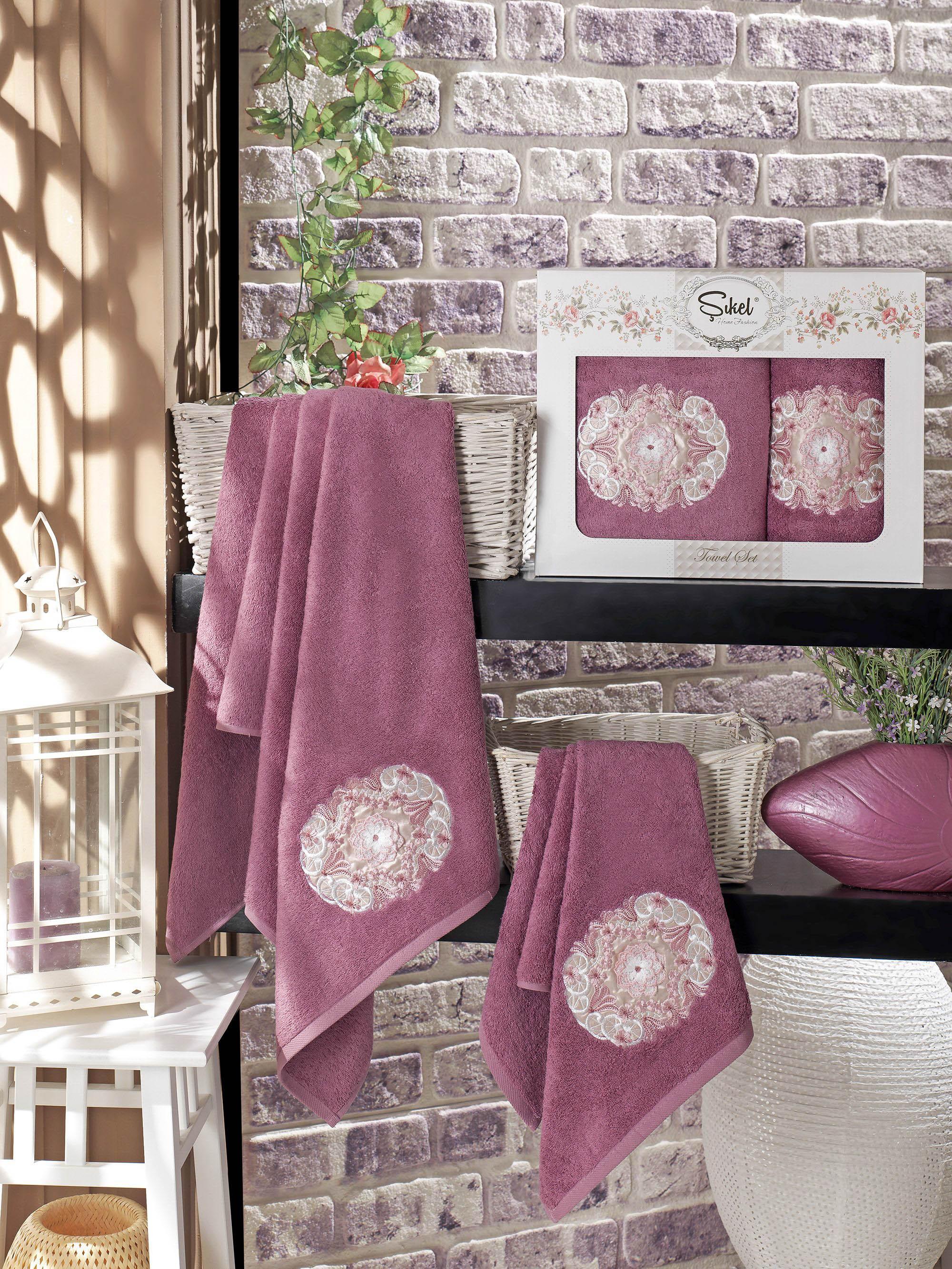 Полотенца Sikel Набор из 2 полотенец Kamelya Цвет: Фиолетовый набор из 3 полотенец merzuka sakura 50х90 2 70х140 8432 терракотовый