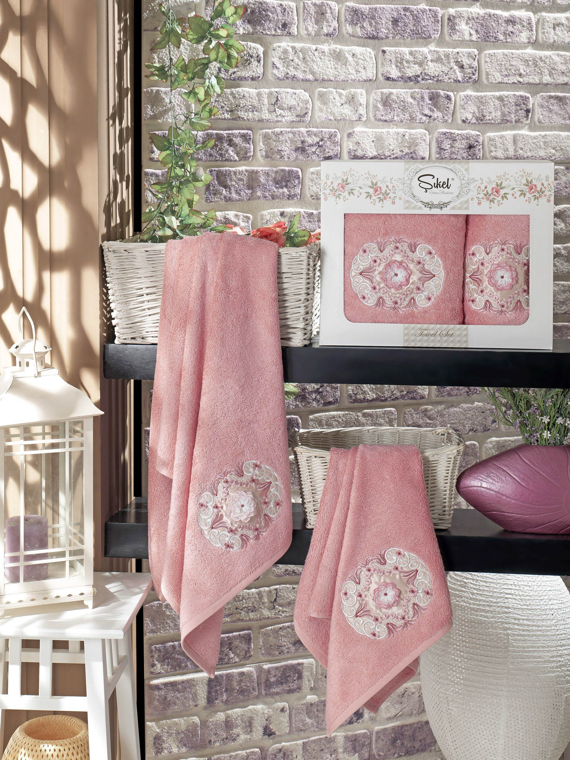 Полотенца Sikel Набор из 2 полотенец Kamelya Цвет: Пудра набор из 3 полотенец merzuka sakura 50х90 2 70х140 8432 терракотовый