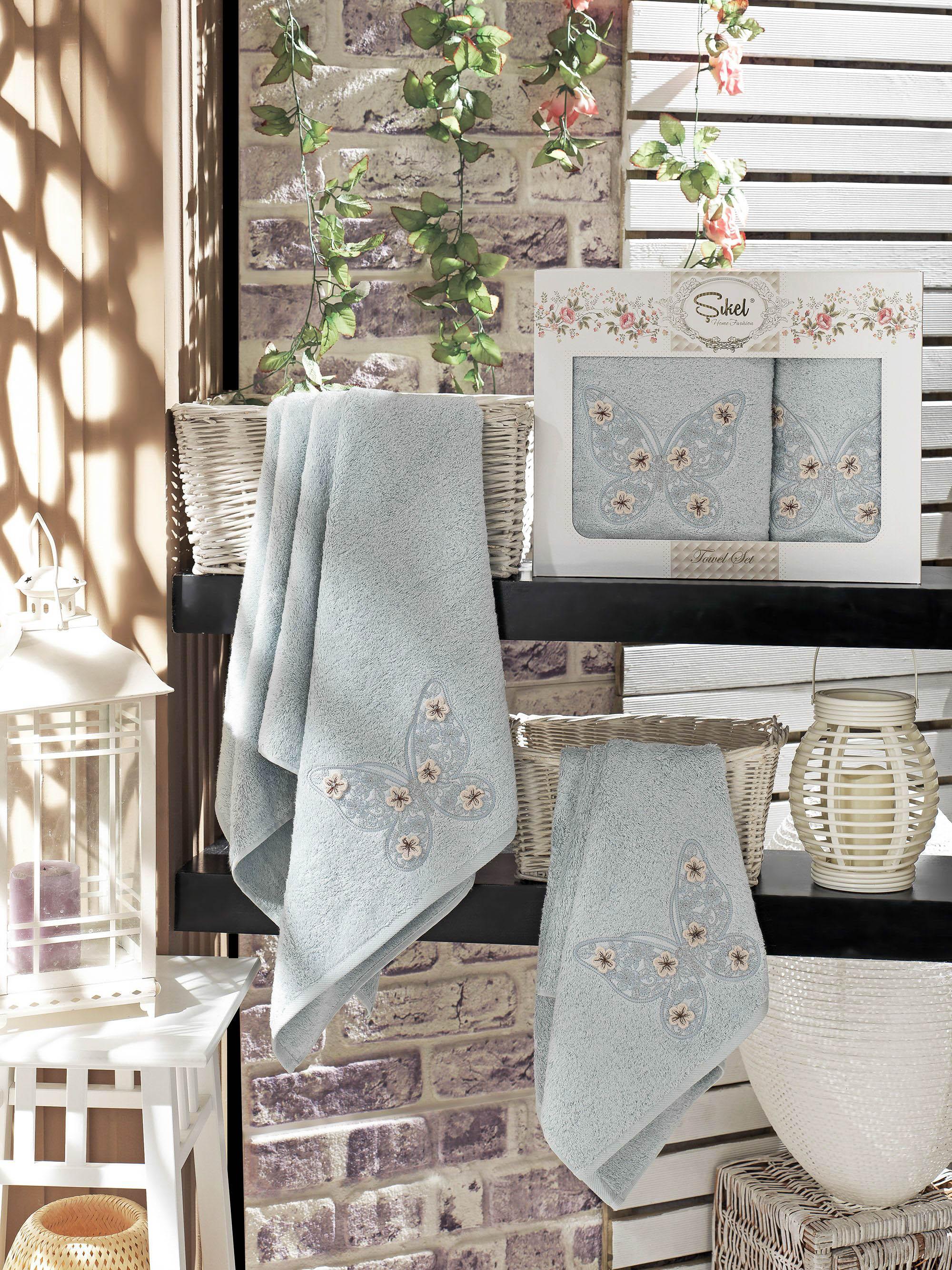 Полотенца Sikel Набор из 2 полотенец Kasimpati Цвет: Голубой набор из 3 полотенец merzuka sakura 50х90 2 70х140 8432 терракотовый
