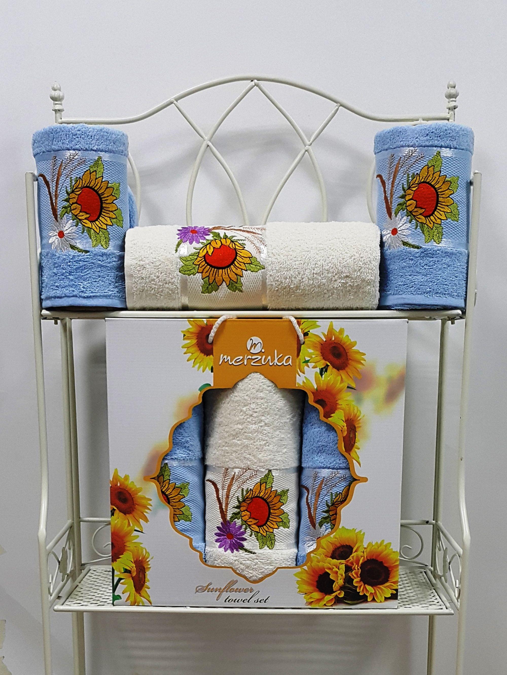 Полотенца Oran Merzuka Полотенце Sunflower Цвет: Голубой (Набор) набор из 3 полотенец merzuka sakura 50х90 2 70х140 8432 терракотовый