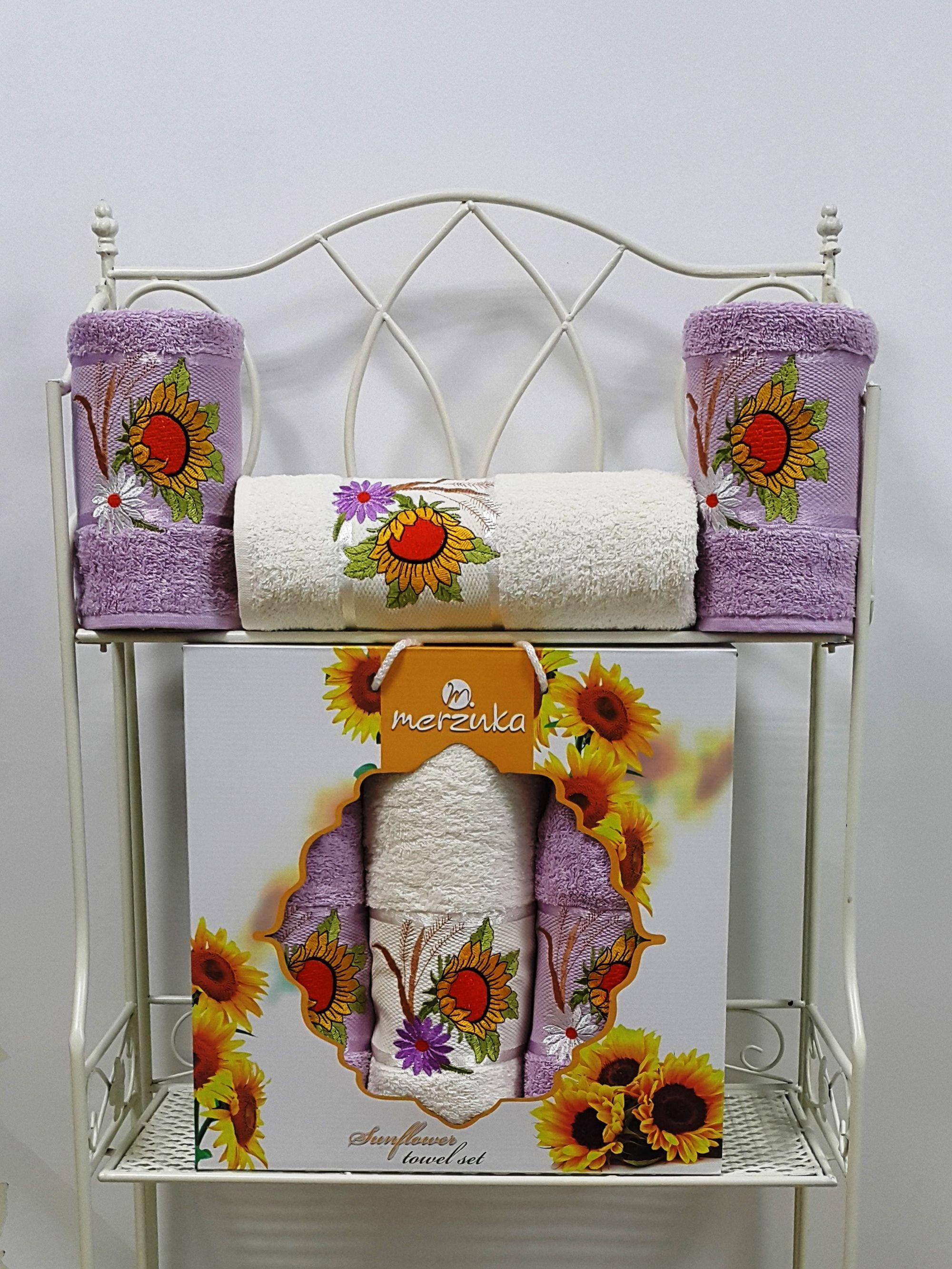Полотенца Oran Merzuka Полотенце Sunflower Цвет: Сиреневый (Набор) набор из 3 полотенец merzuka sakura 50х90 2 70х140 8432 терракотовый