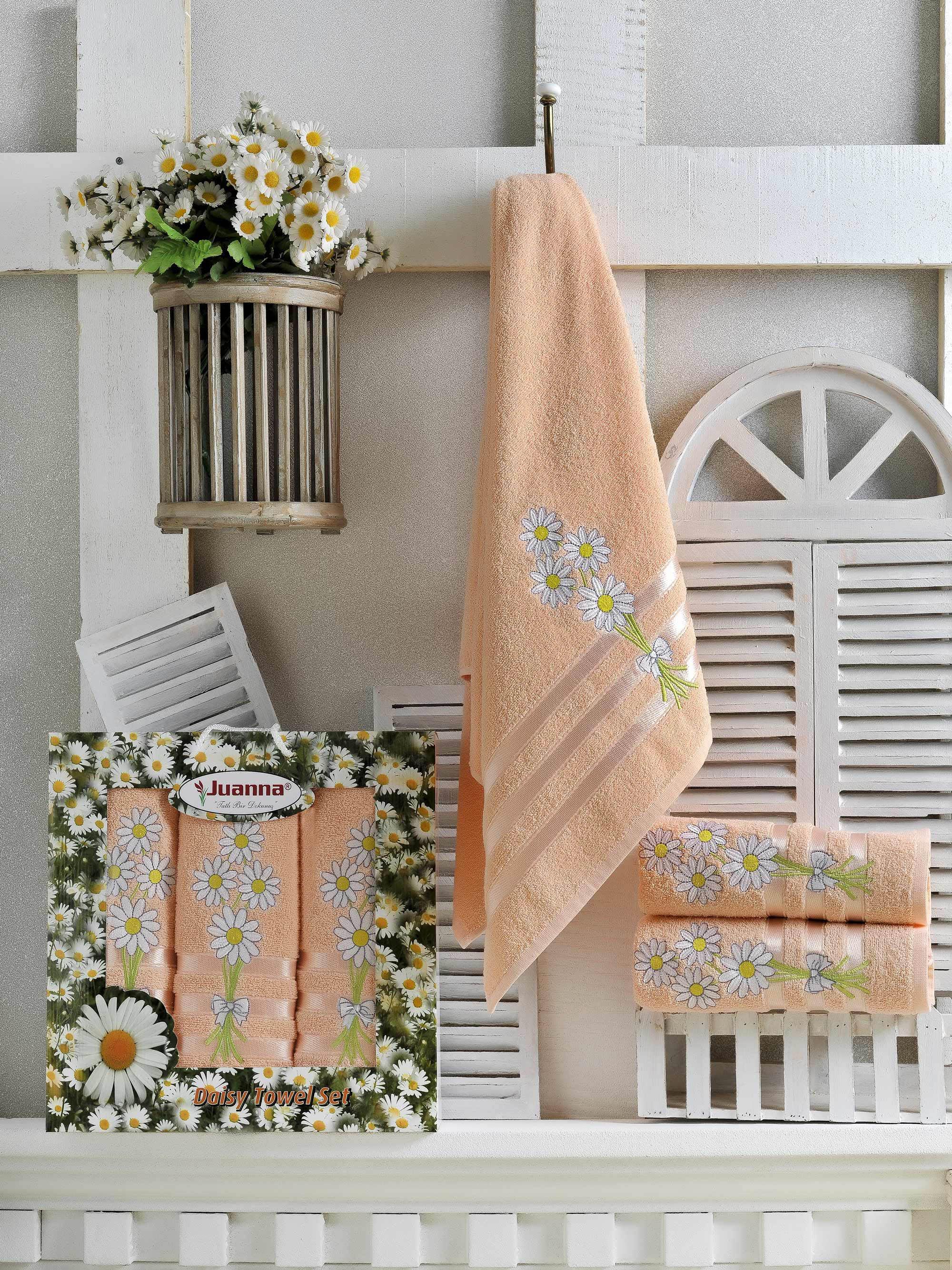 Полотенца Juanna Набор из 3 полотенец Papatya Цвет: Персиковый набор из 3 полотенец merzuka sakura 50х90 2 70х140 8432 терракотовый