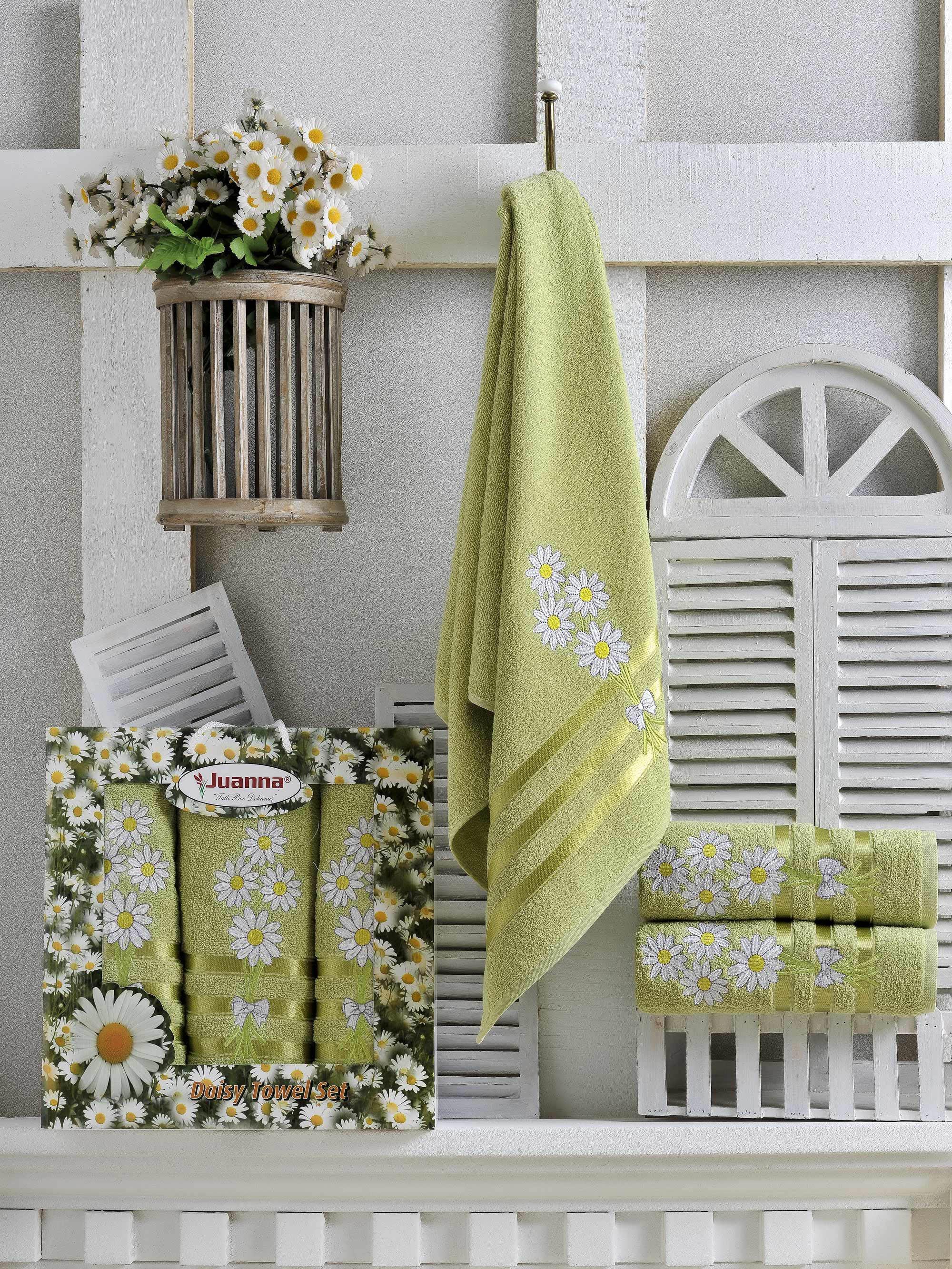 Полотенца Juanna Набор из 3 полотенец Papatya Цвет: Зелёный набор из 3 полотенец merzuka sakura 50х90 2 70х140 8432 терракотовый